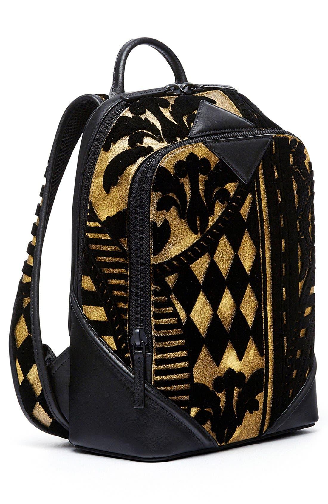 MCM, 'Duke Tapisserie' Goat Leather Backpack, Alternate thumbnail 4, color, 710