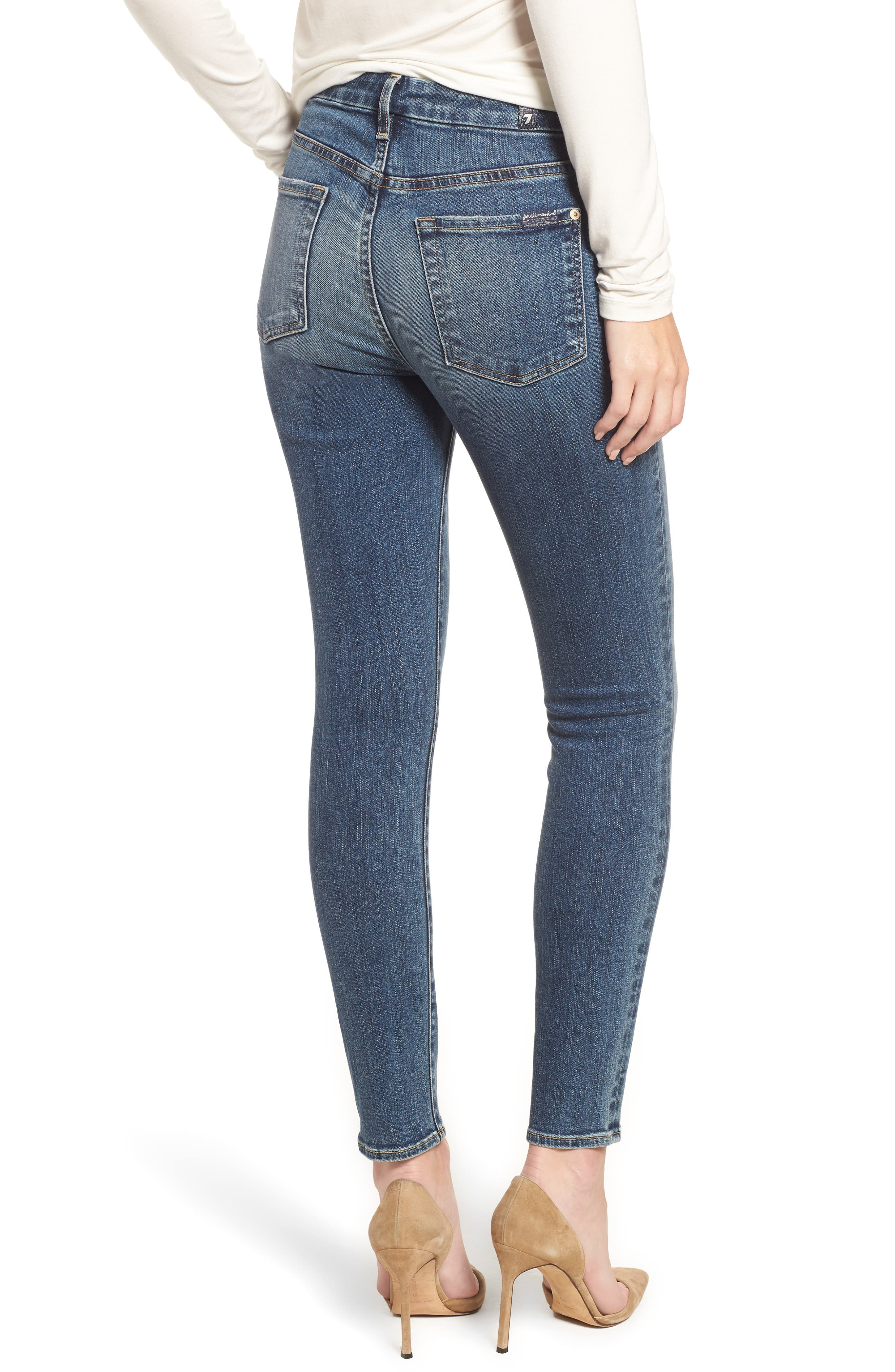 7 FOR ALL MANKIND<SUP>®</SUP>, The High Waist Ankle Skinny Jeans, Alternate thumbnail 2, color, 400