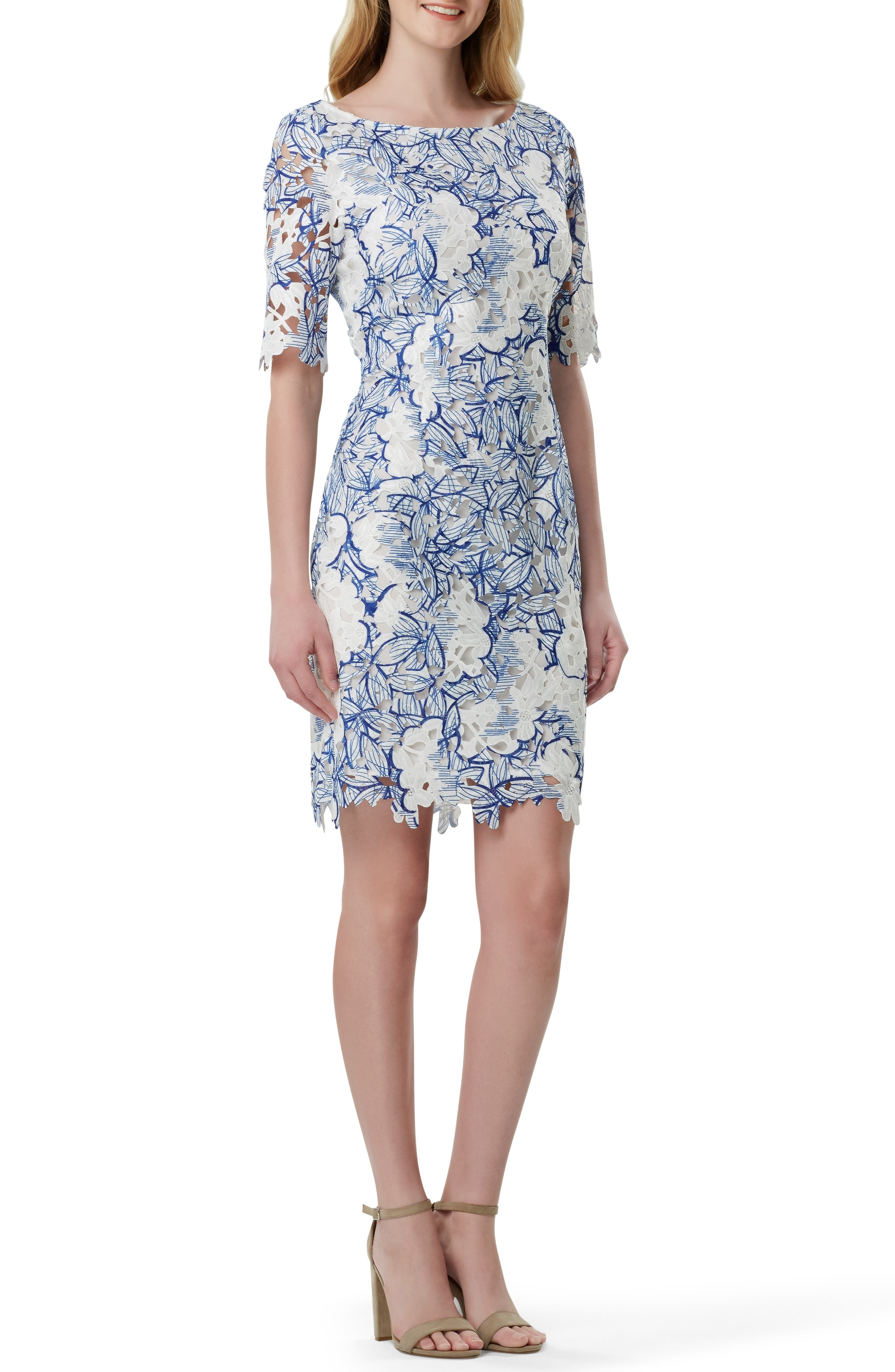 Tahari Chemical Lace Sheath Dress, Blue