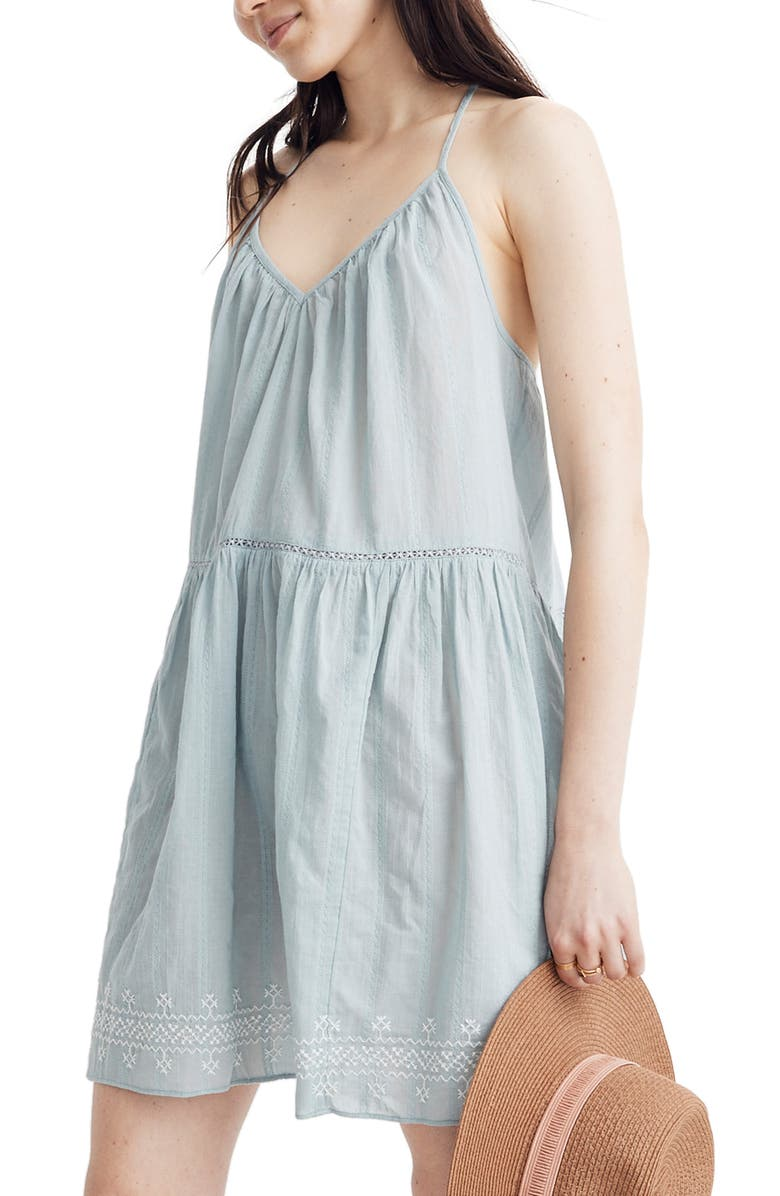 52c6bbfc72 Madewell Embroidered Racerback Cover-Up Dress In Blue Horizon | ModeSens