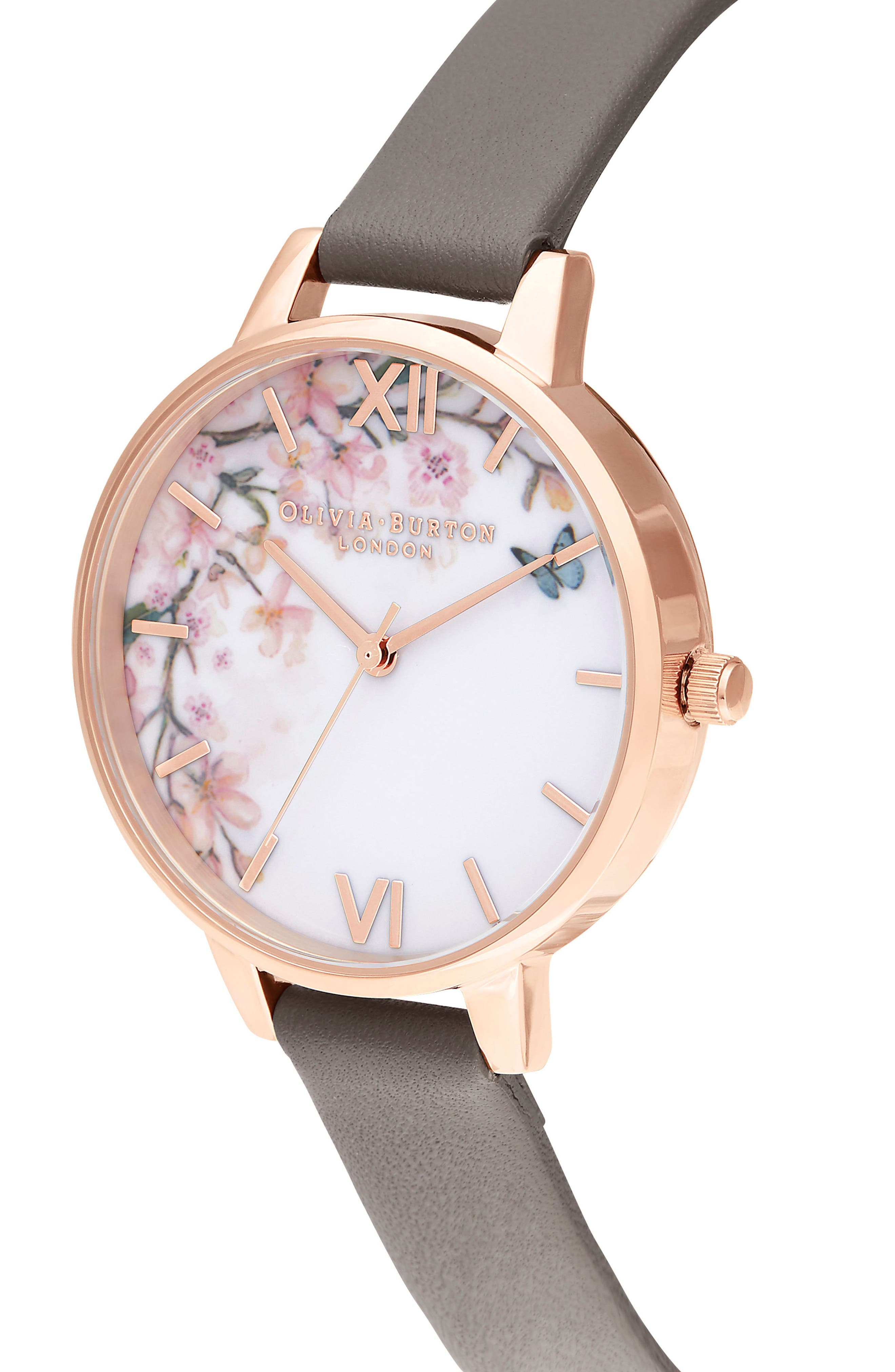 OLIVIA BURTON, Pretty Blossom Leather Strap Watch, 34mm, Alternate thumbnail 4, color, GREY / WHITE/ ROSE GOLD