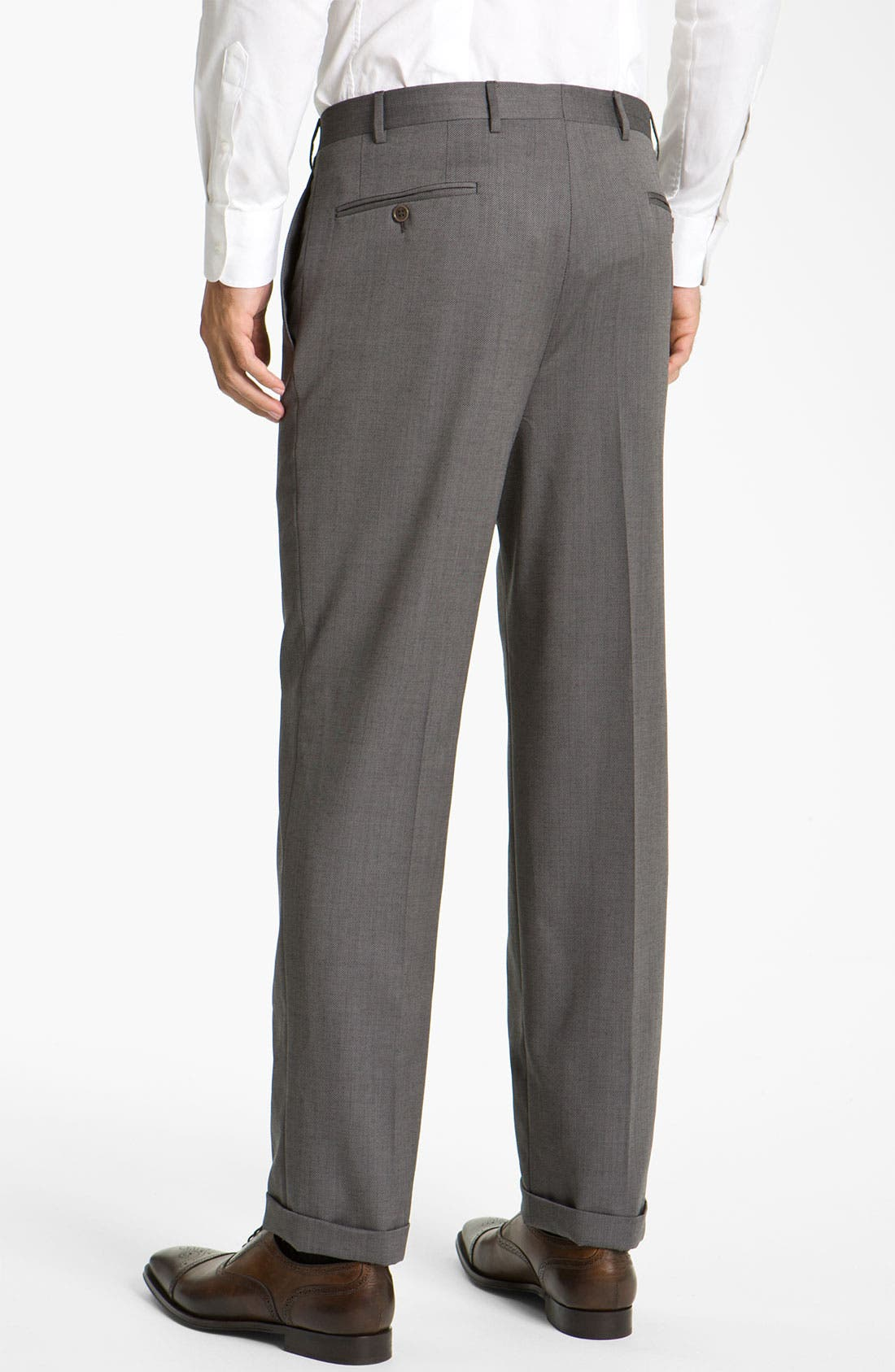 CANALI, Flat Front Wool Trousers, Alternate thumbnail 2, color, GREY