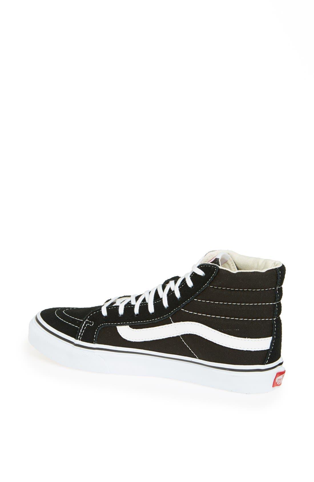 VANS, Sk8-Hi Slim High Top Sneaker, Alternate thumbnail 5, color, BLACK TRUE WHITE