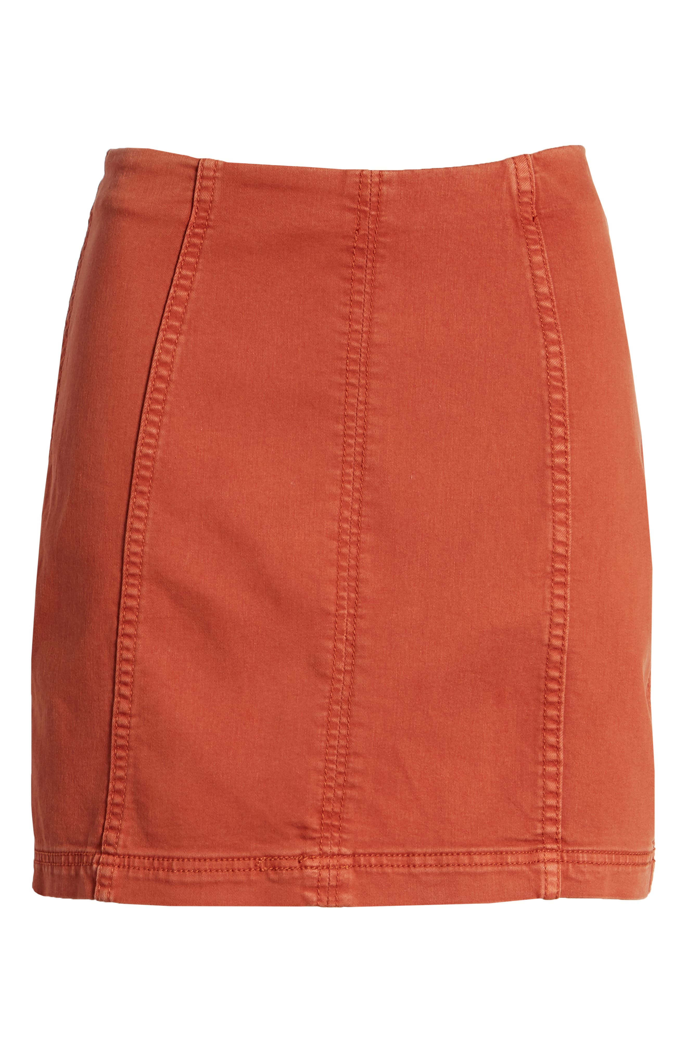 FREE PEOPLE, We the Free by Free People Modern Denim Skirt, Alternate thumbnail 7, color, TERRACOTTA