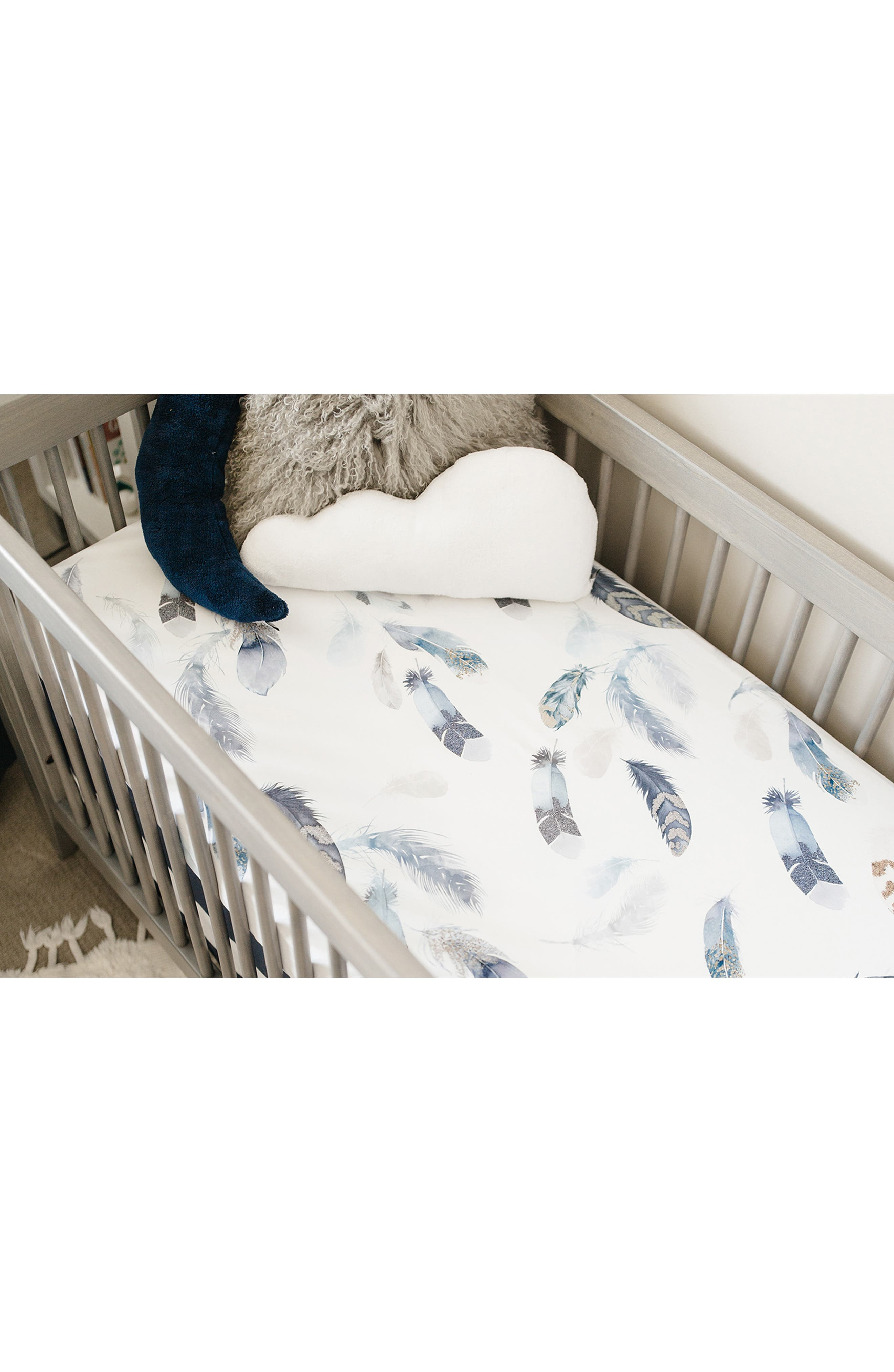 OILO, Featherly Set of 2 Jersey Crib Sheets, Alternate thumbnail 5, color, FEATHERLY