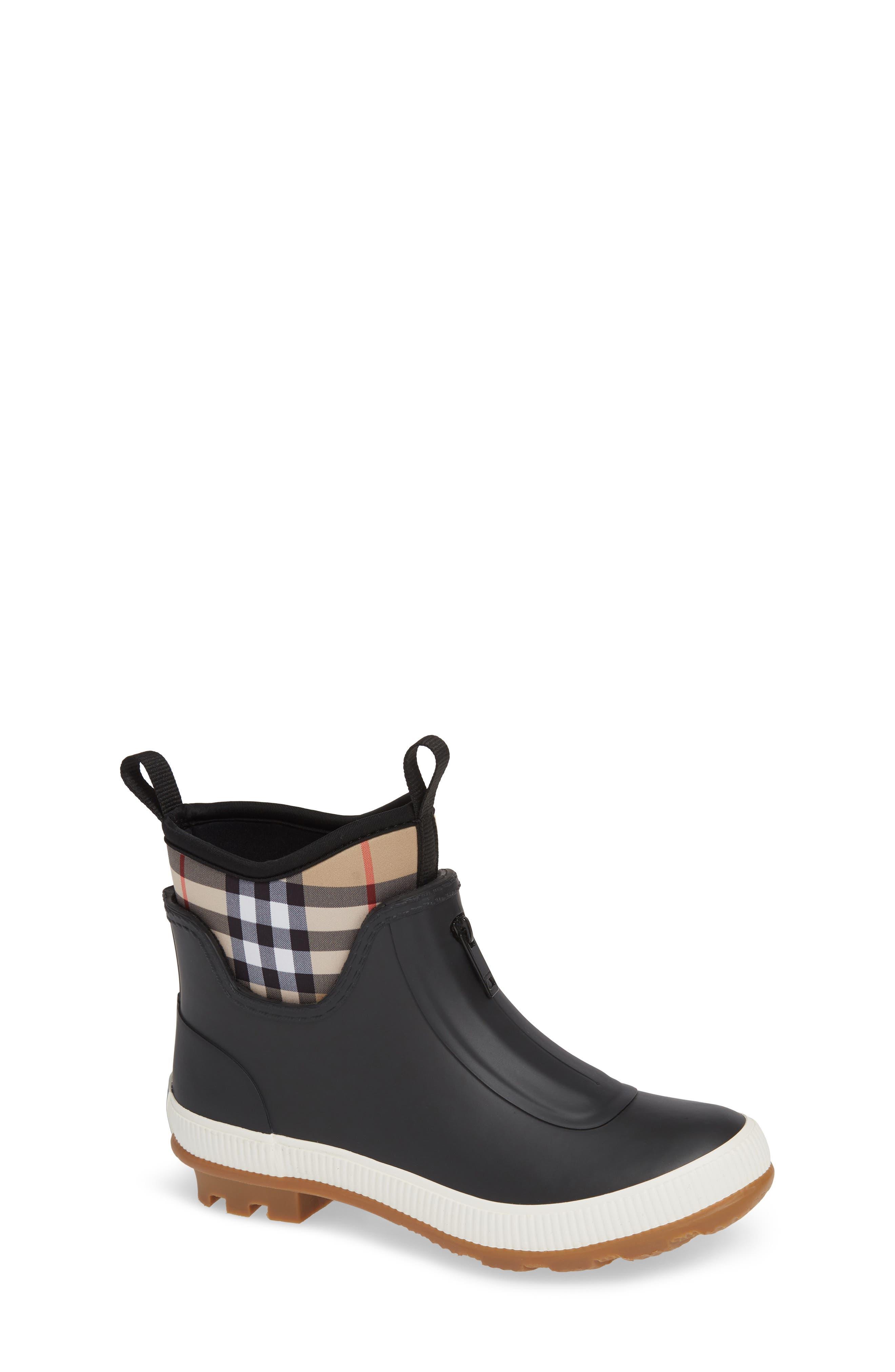 BURBERRY Flinton Rain Boot, Main, color, BLACK