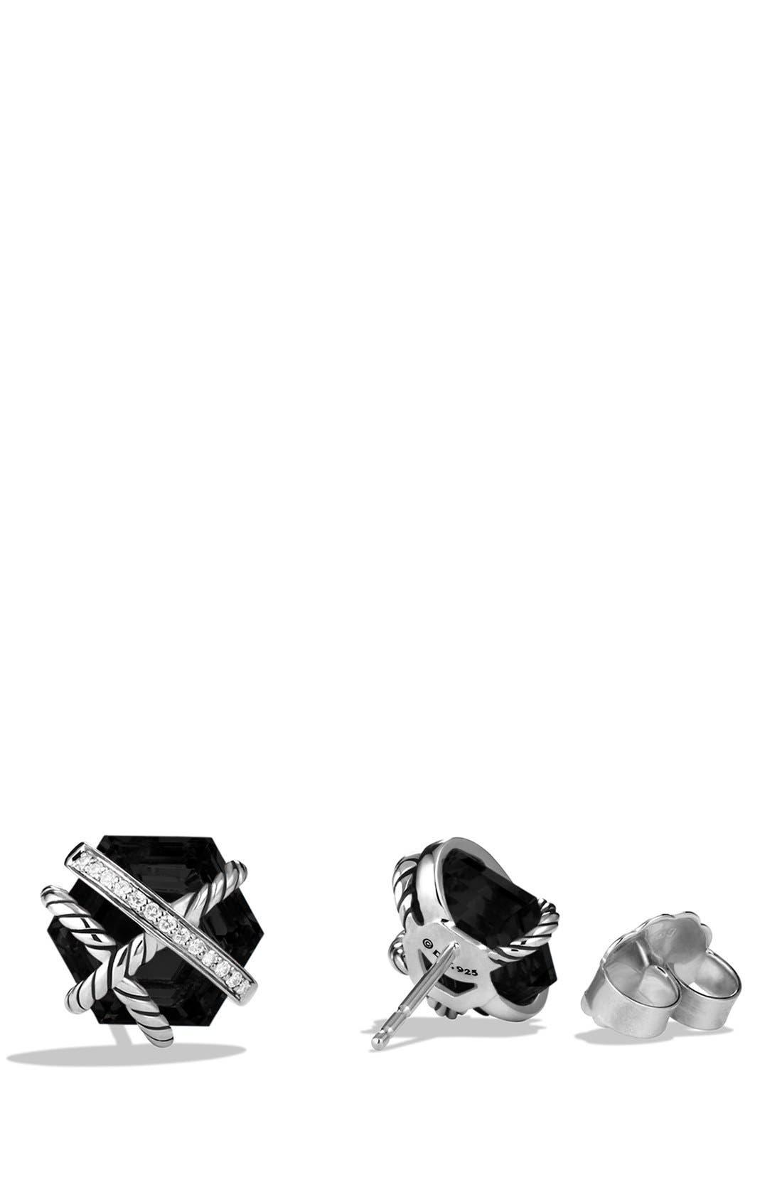 DAVID YURMAN, 'Cable Wrap' Earrings with Semiprecious Stones & Diamonds, Alternate thumbnail 3, color, BLACK ONYX