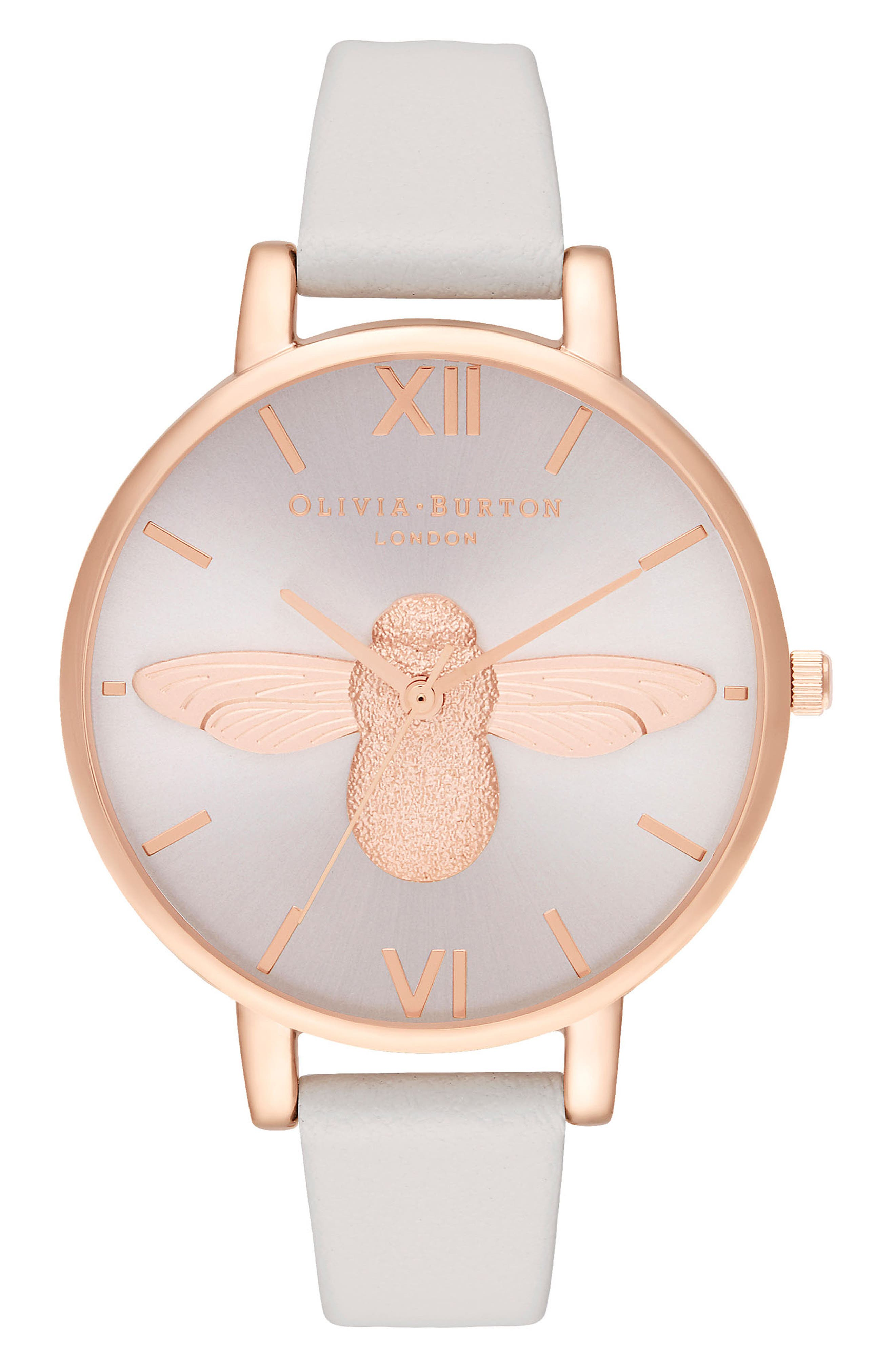 OLIVIA BURTON, 'Molded Bee' Leather Strap Watch, 38mm, Main thumbnail 1, color, BLUSH/ SUNRAY BEE/ ROSE GOLD