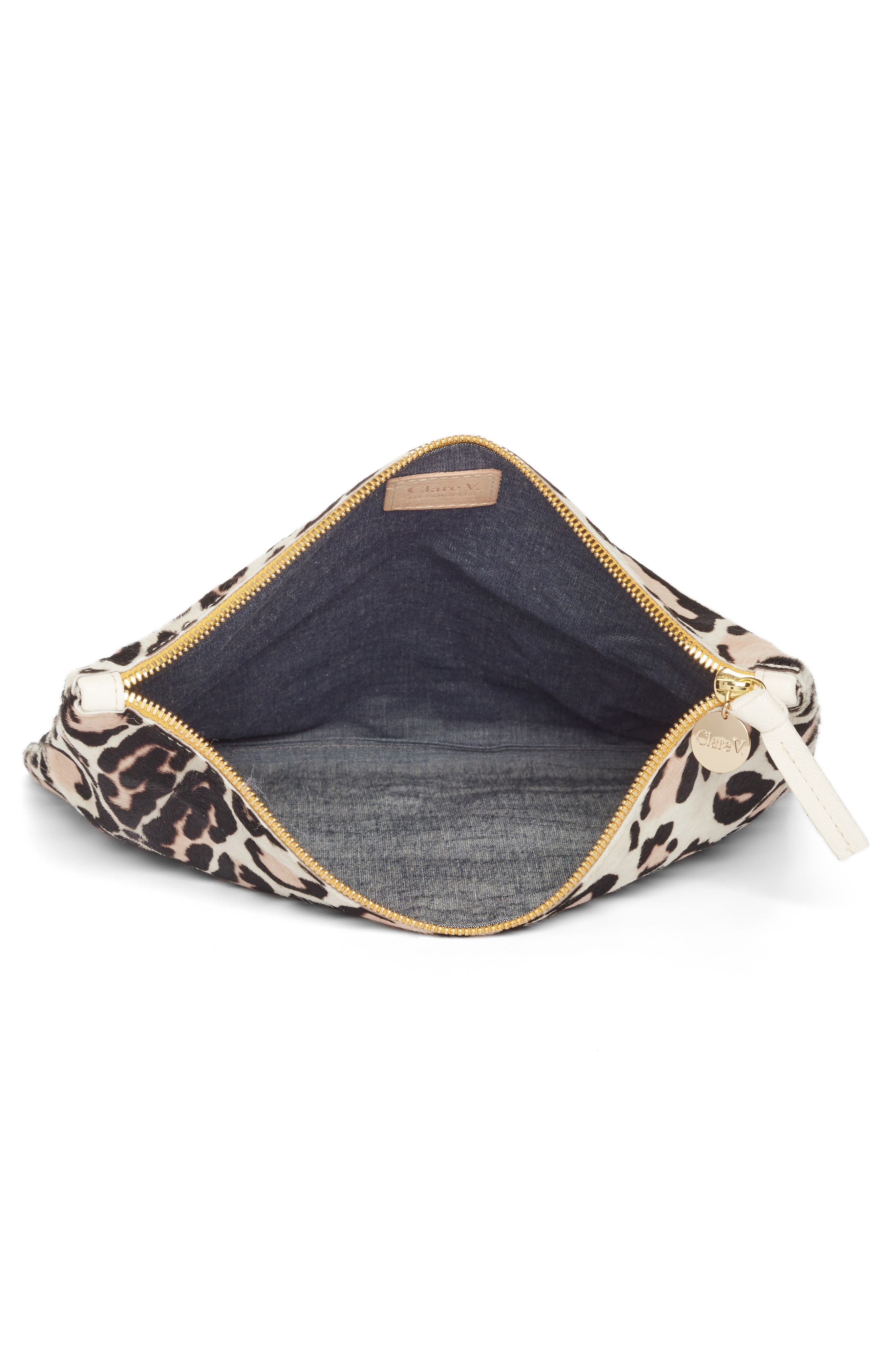 CLARE V., Genuine Calf Hair Foldover Clutch, Alternate thumbnail 3, color, 900