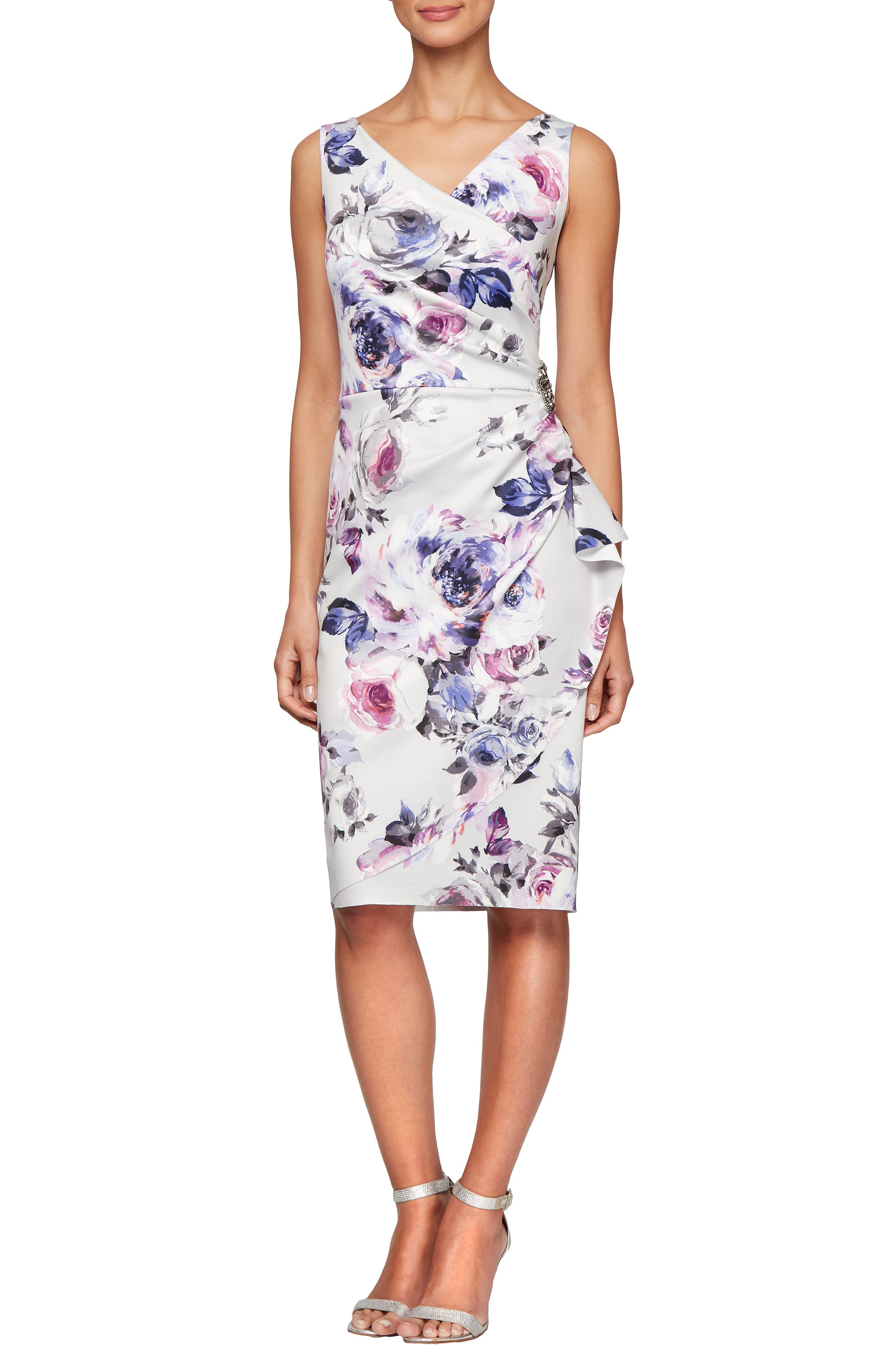 Petite Alex Evenings Side Ruched Cocktail Dress, Ivory