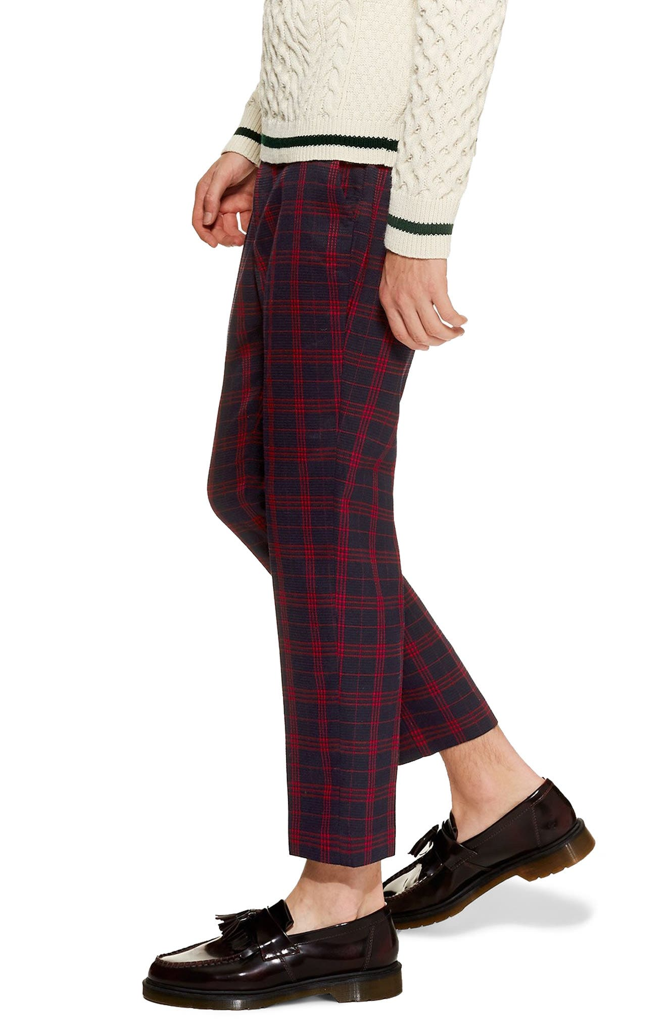 TOPMAN, Plaid Tapered Trousers, Alternate thumbnail 3, color, 401
