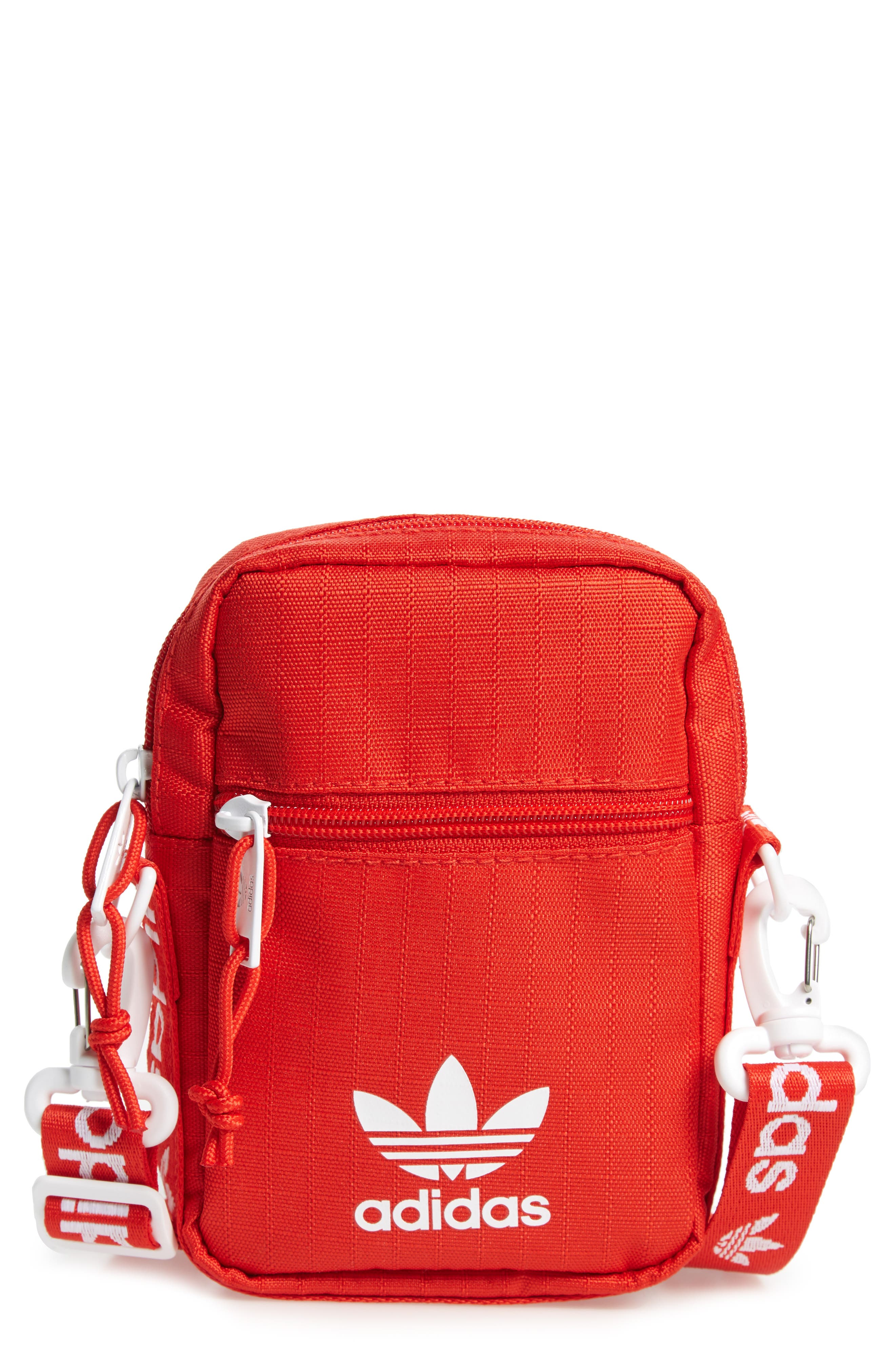 ADIDAS Logo Belt Bag, Main, color, RED