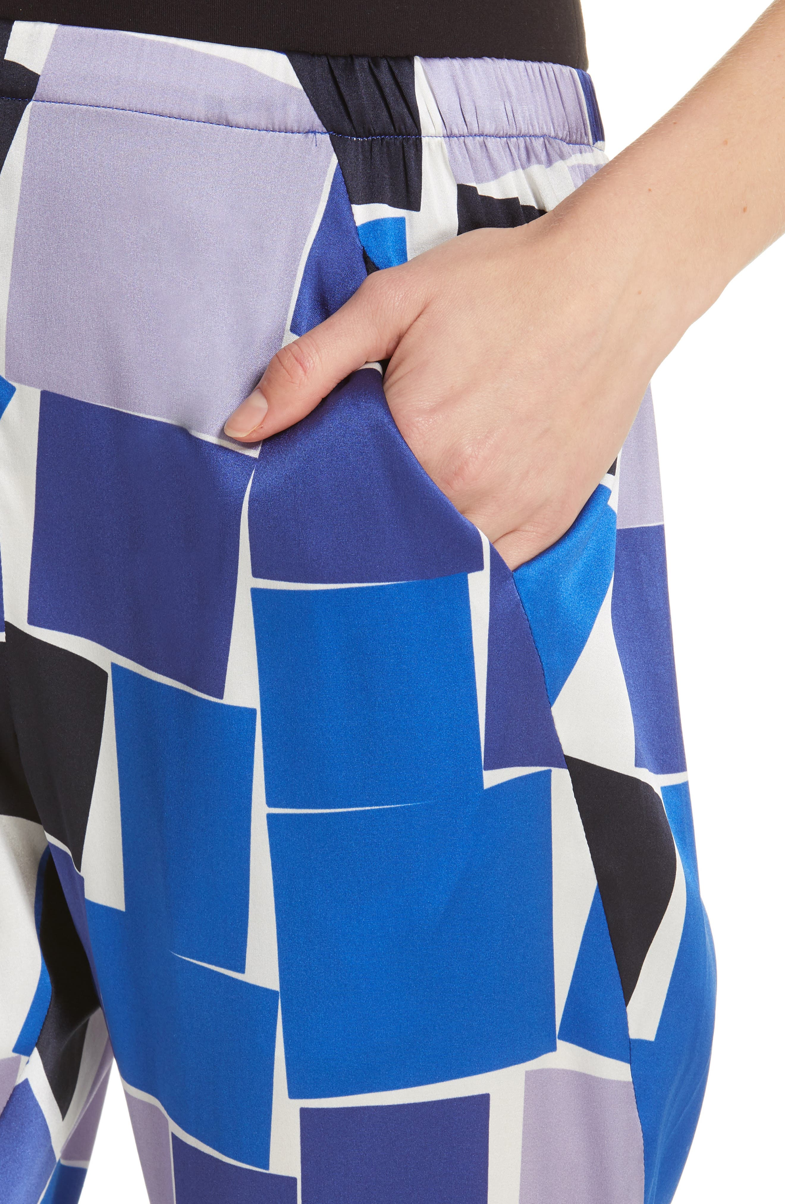 ZERO + MARIA CORNEJO, Gabi Print Stretch Silk Trousers, Alternate thumbnail 4, color, DUSK MULTI