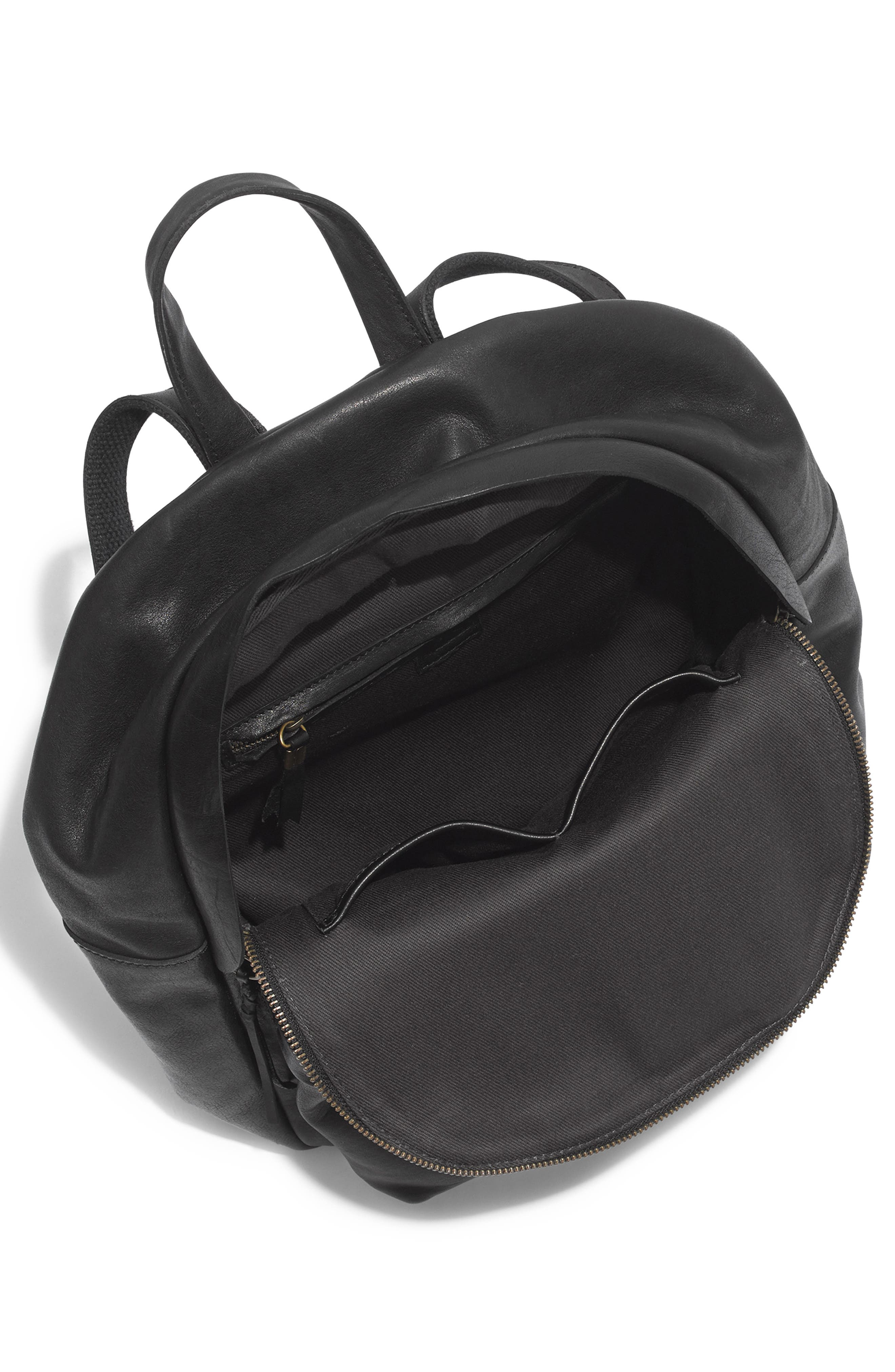 MADEWELL, Lorimer Leather Backpack, Alternate thumbnail 5, color, TRUE BLACK