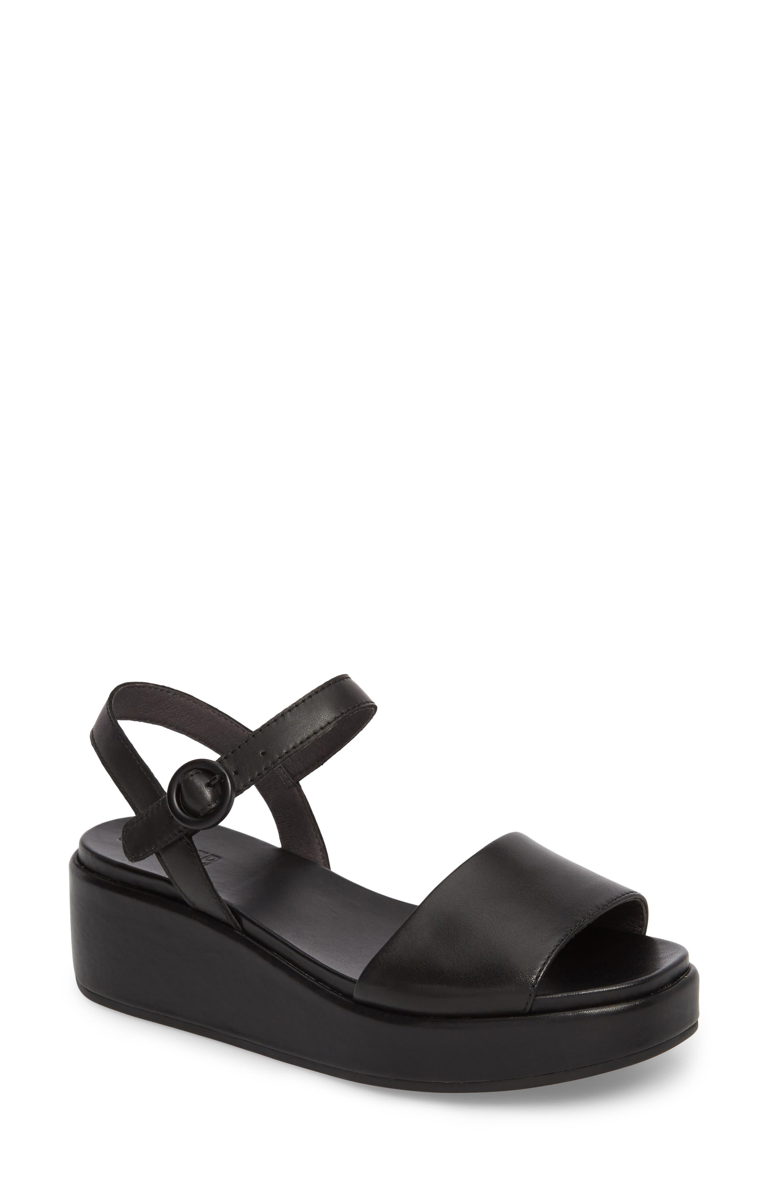 CAMPER, Misia Platform Wedge Sandal, Main thumbnail 1, color, BLACK LEATHER