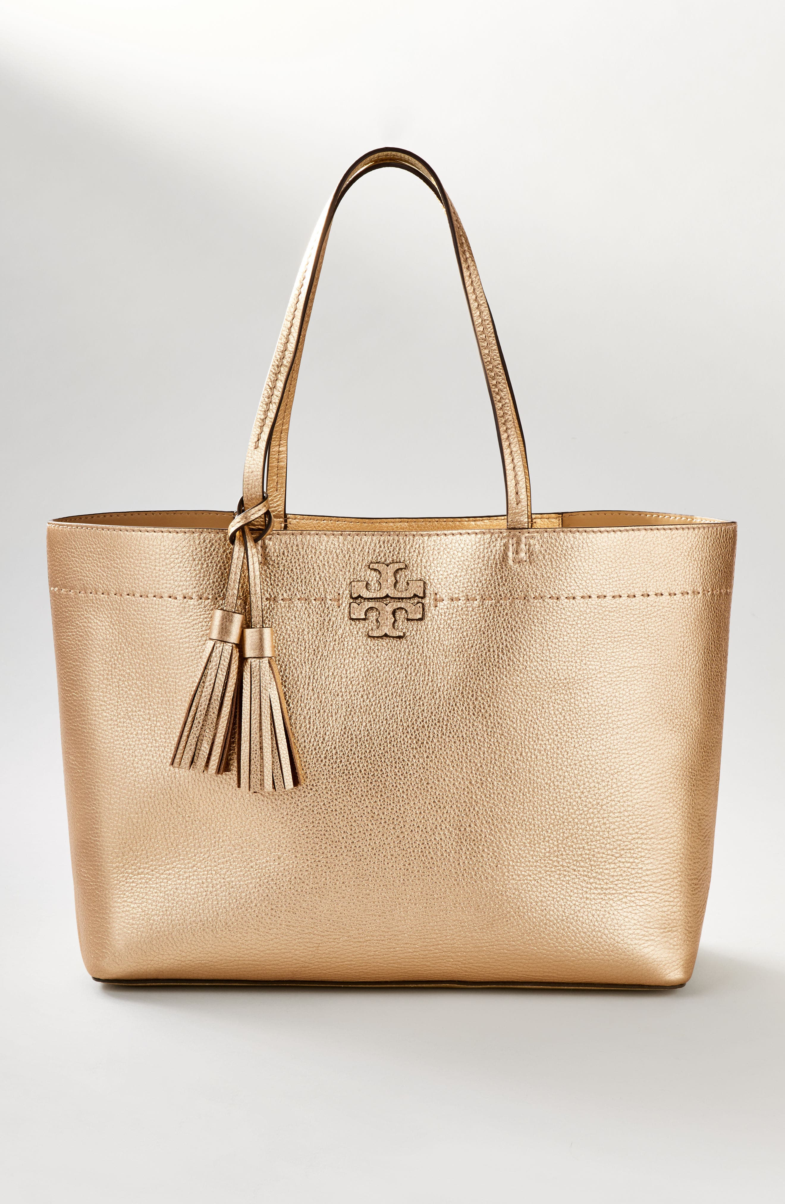 TORY BURCH, McGraw Leather Laptop Tote, Alternate thumbnail 10, color, BLACK/ ROYAL NAVY