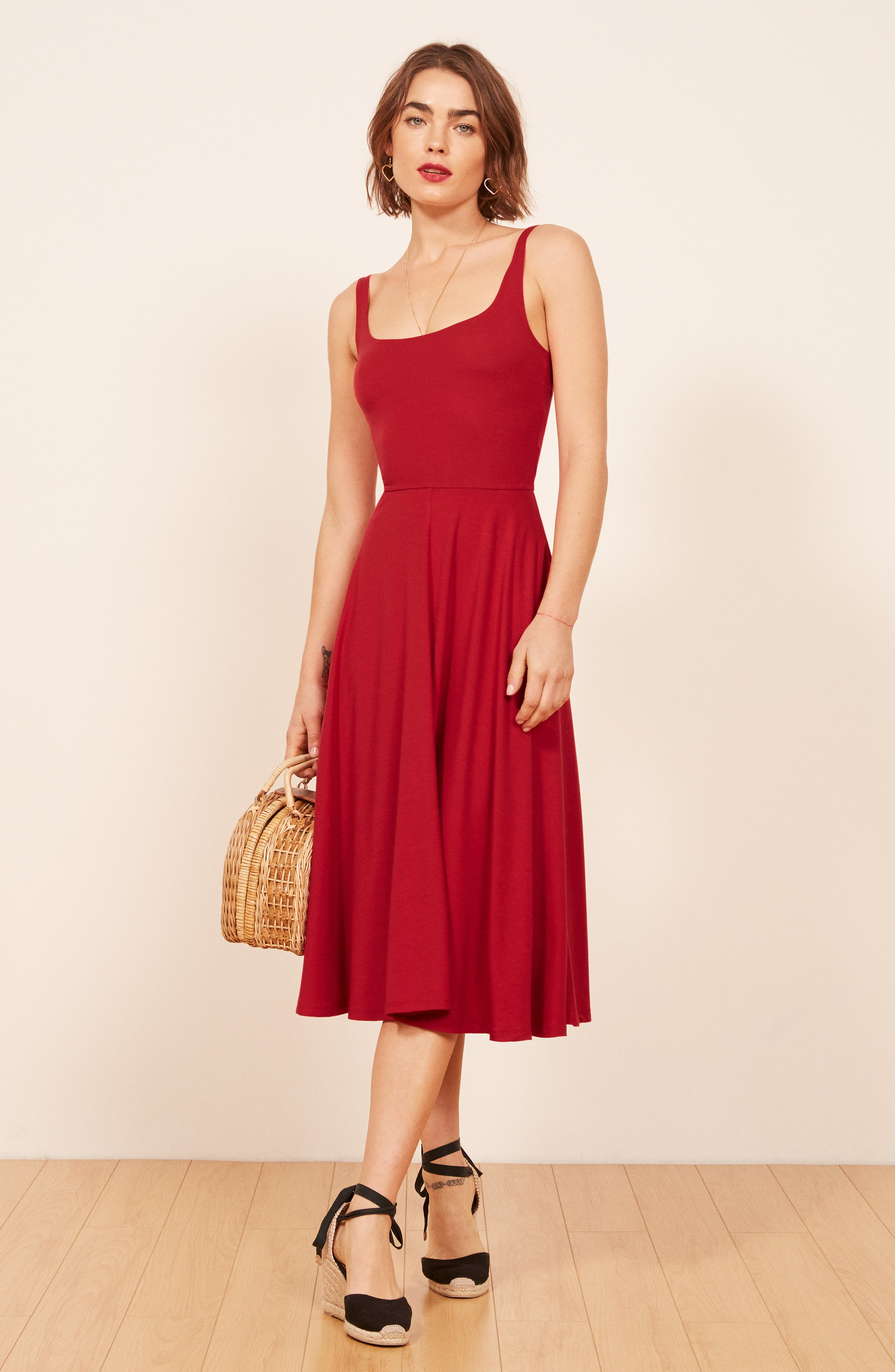 REFORMATION, Rou Midi Fit & Flare Dress, Alternate thumbnail 3, color, CHERRY