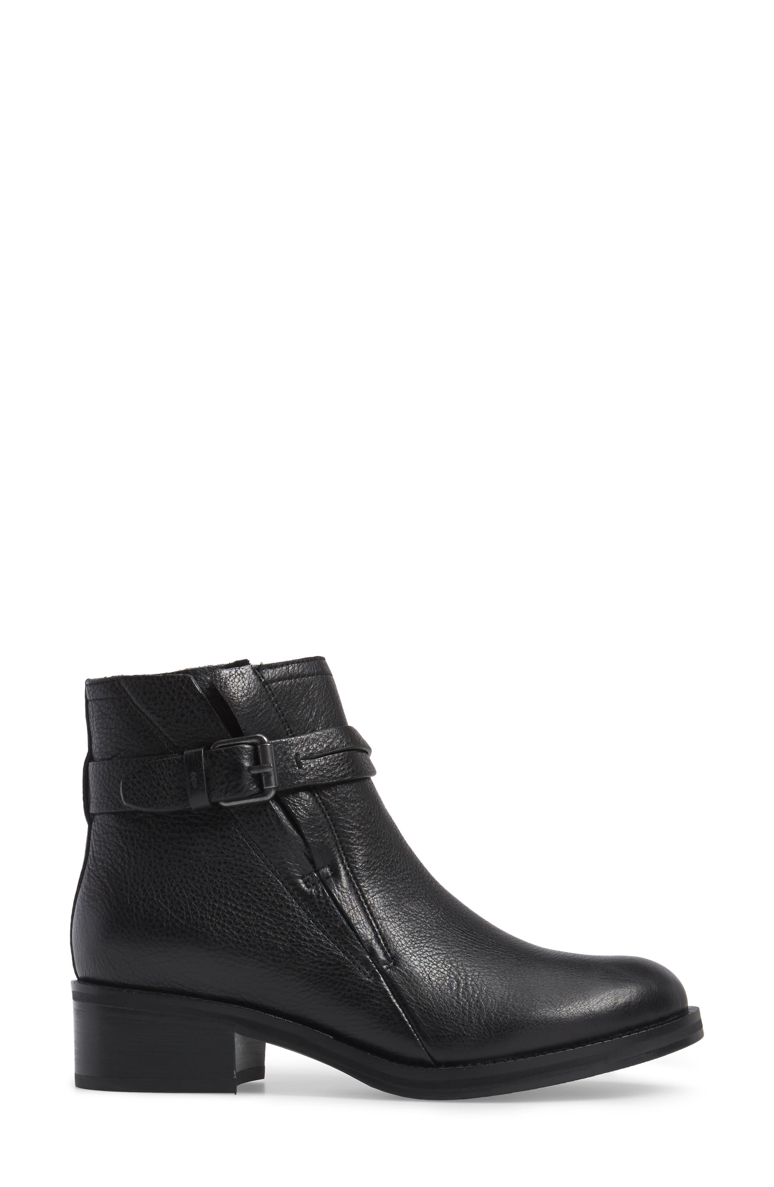 GENTLE SOULS BY KENNETH COLE, Percy Bootie, Alternate thumbnail 3, color, BLACK LEATHER