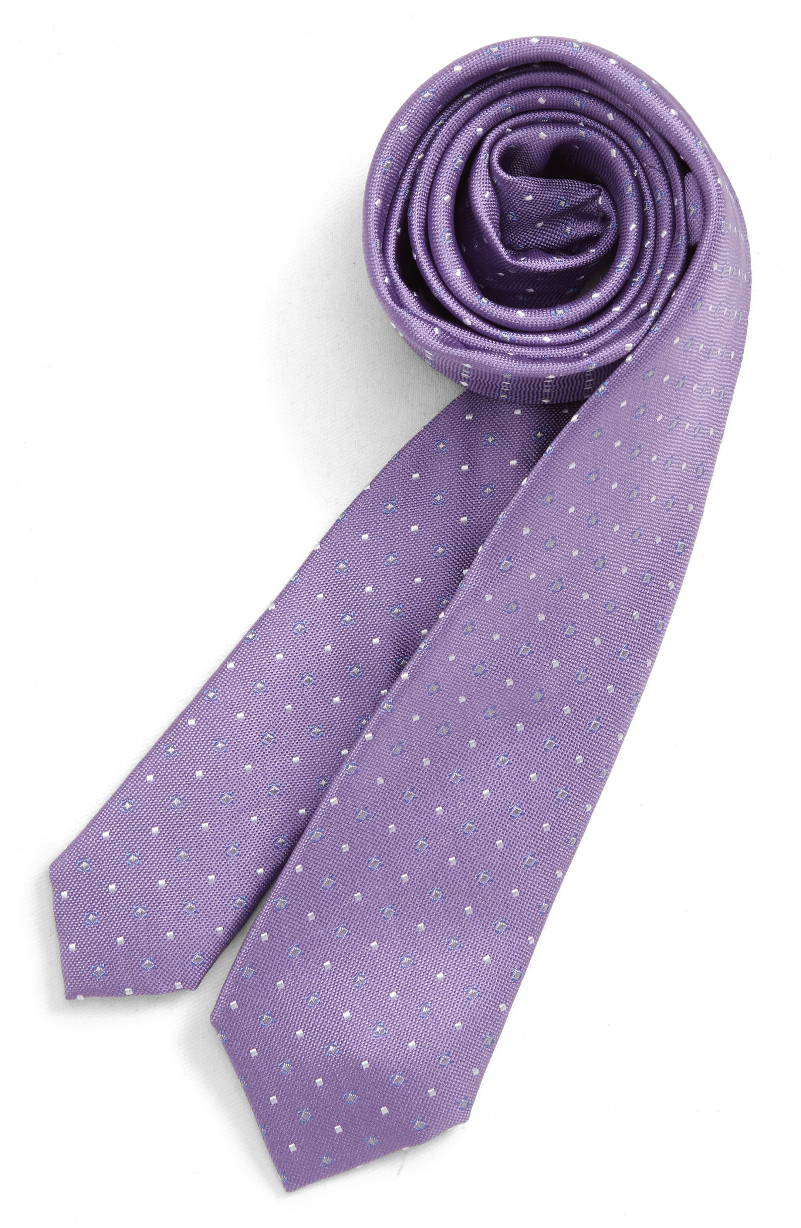 NORDSTROM, Nathaniel Neat Silk Tie, Main thumbnail 1, color, PURPLE