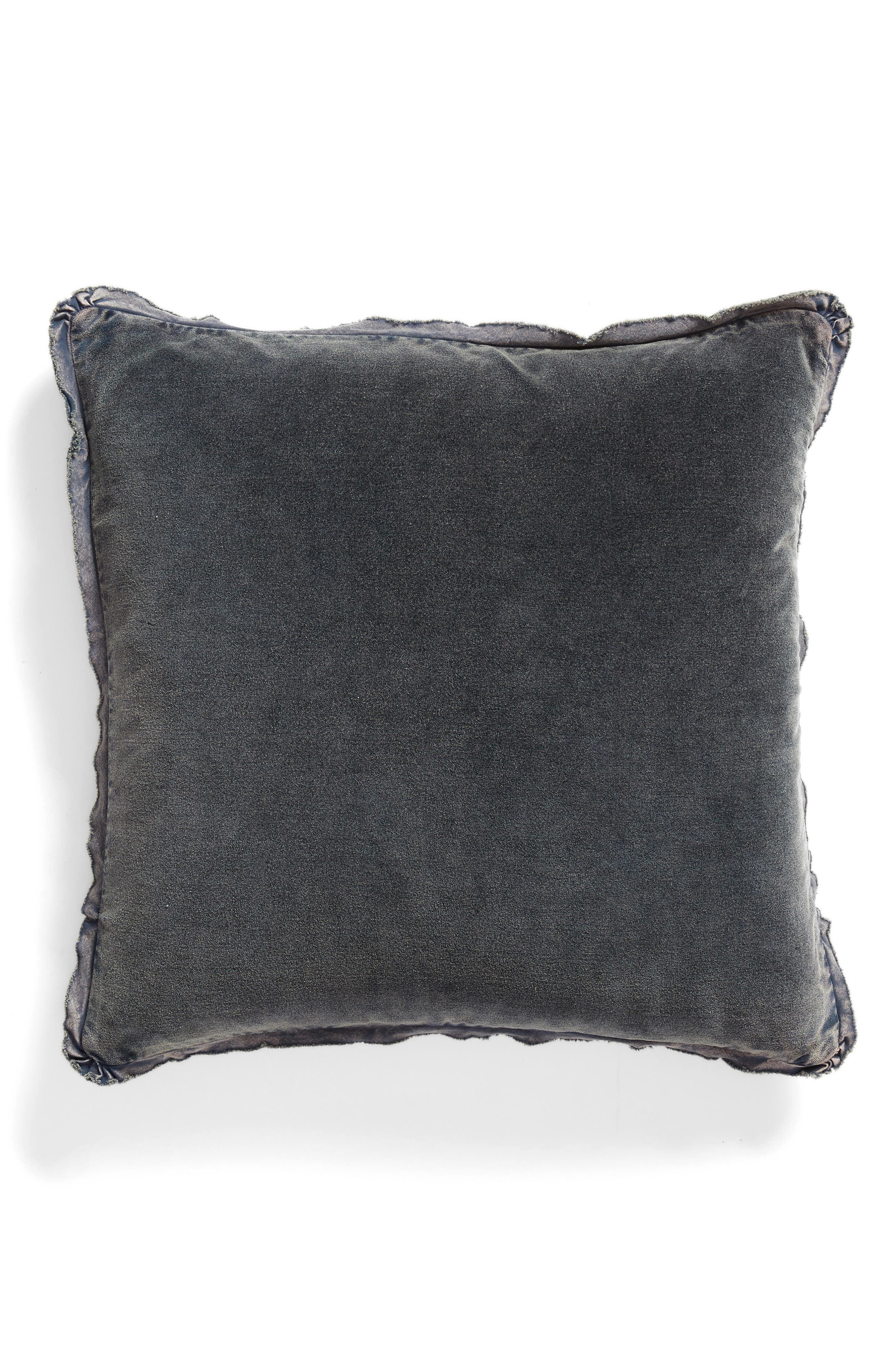 TREASURE & BOND, Stonewash Velvet Accent Pillow, Main thumbnail 1, color, NAVY BLUE