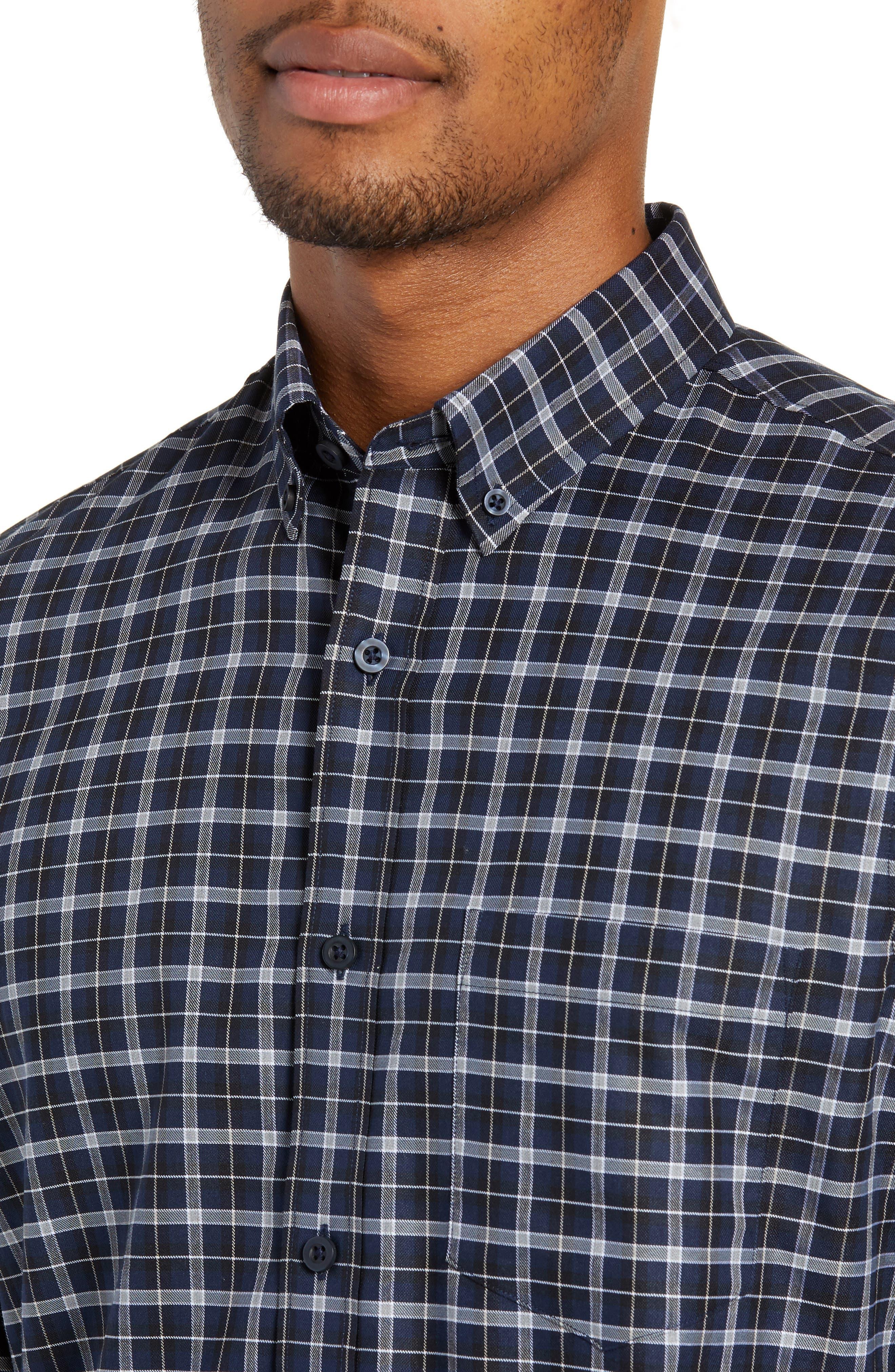 NORDSTROM MEN'S SHOP, Tech-Smart Slim Fit Check Sport Shirt, Alternate thumbnail 2, color, NAVY IRIS BLACK CHECK