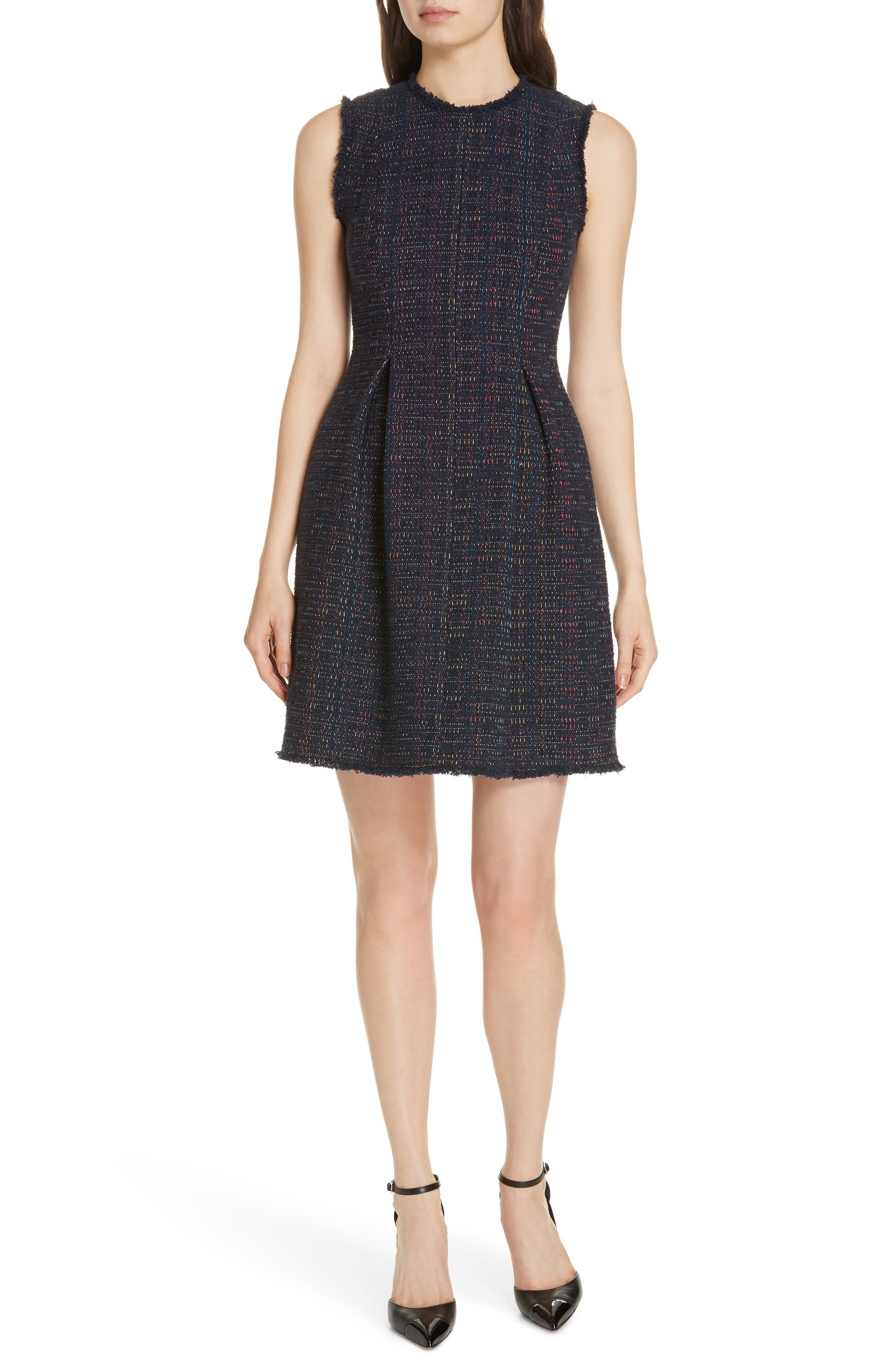 REBECCA TAYLOR Rainbow Tweed Fit & Flare Dress, Main, color, NAVY