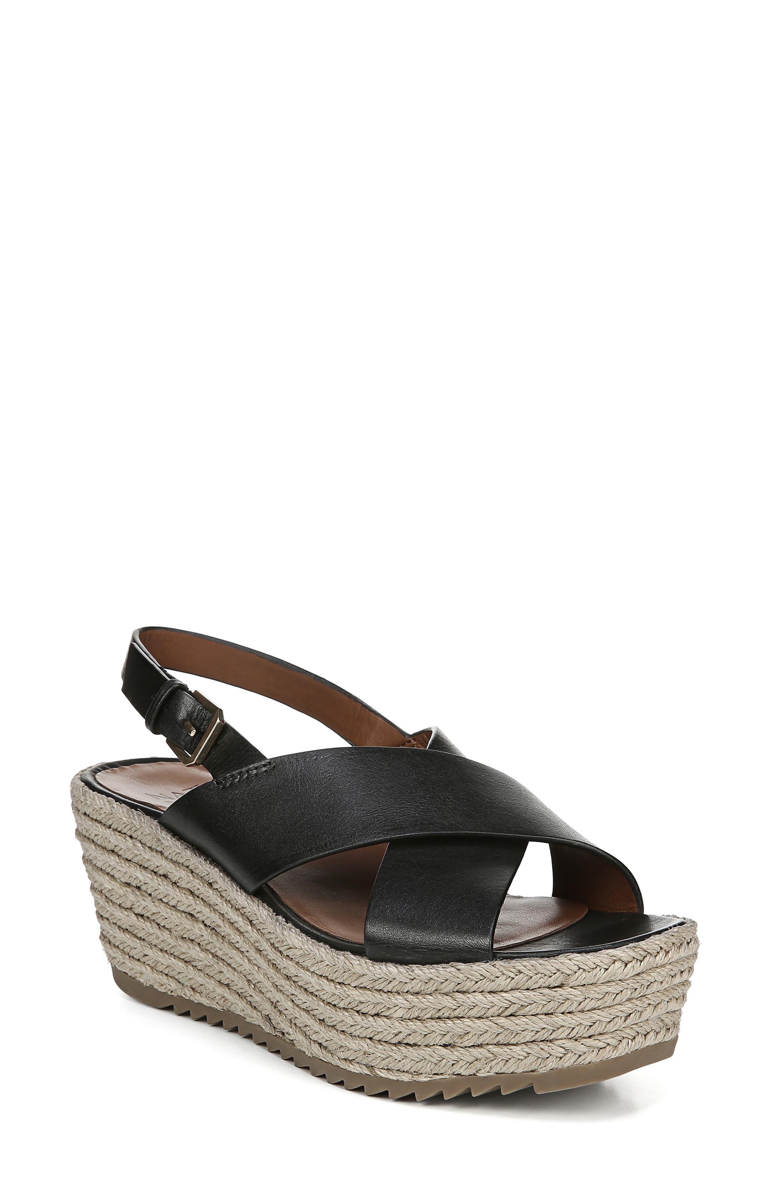 NATURALIZER Oak Espadrille Wedge Sandal, Main, color, BLACK LEATHER