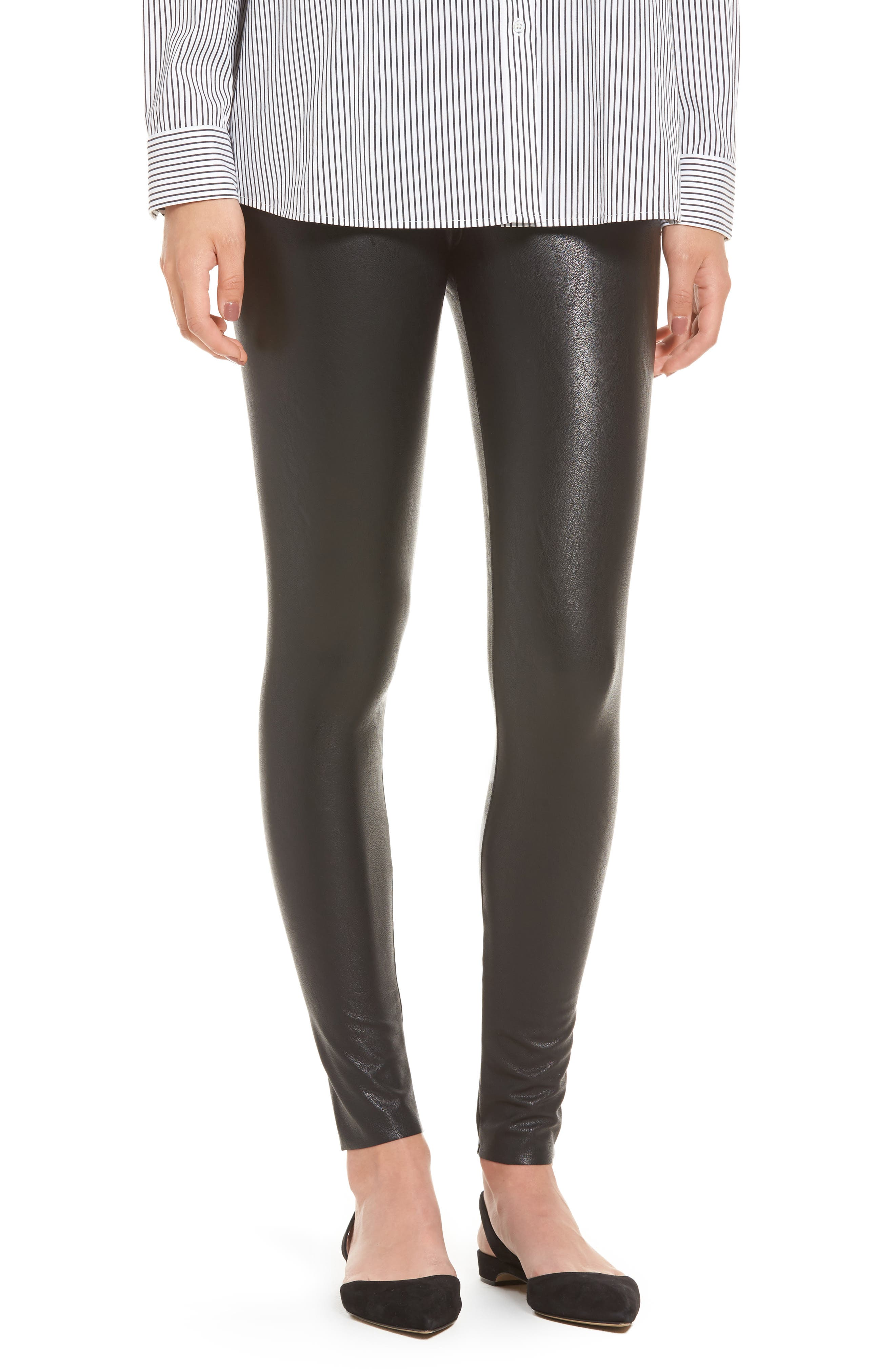 COMMANDO, Perfect Control Faux Leather Leggings, Main thumbnail 1, color, BLACK
