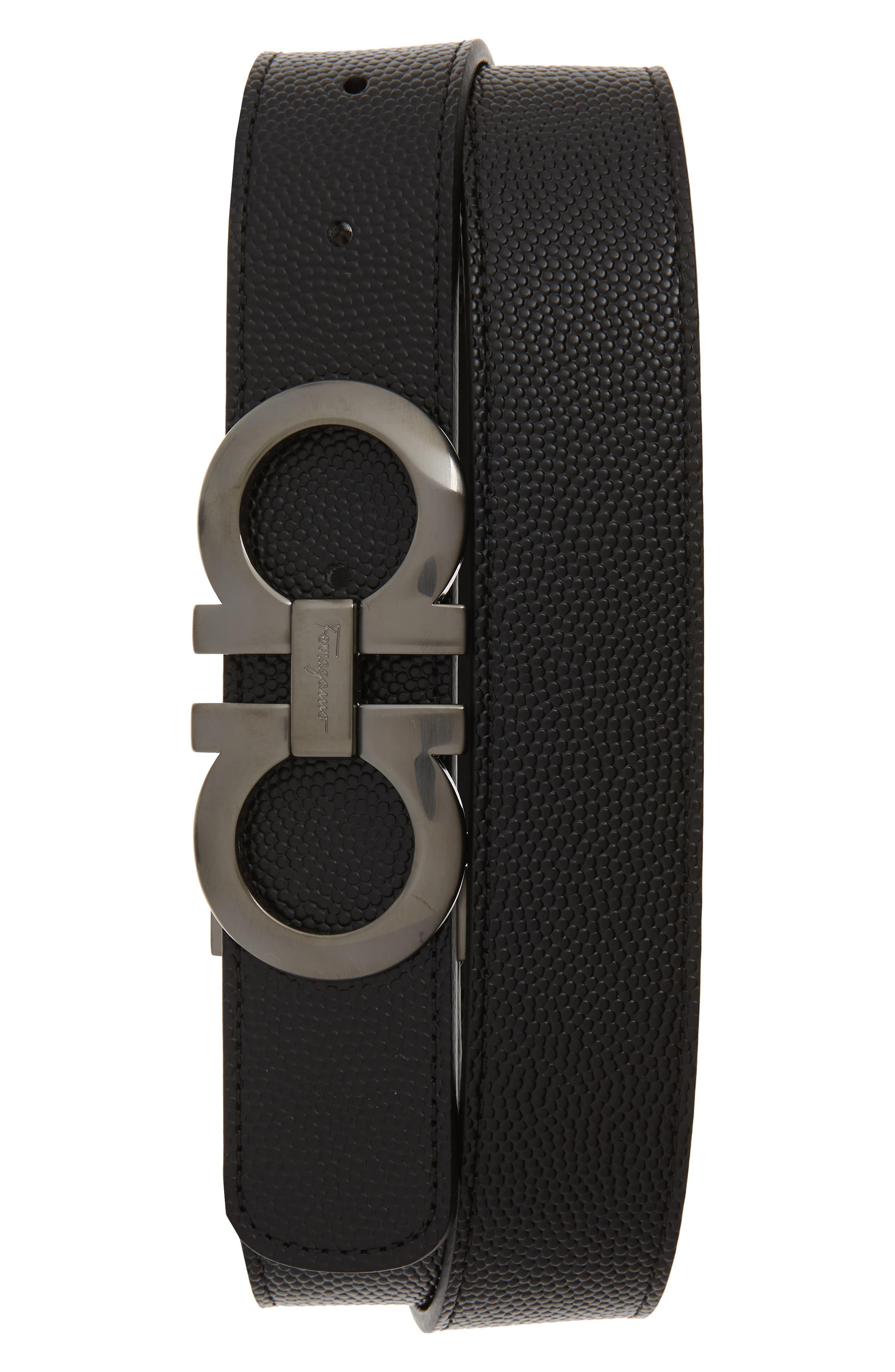 SALVATORE FERRAGAMO, Leather Belt, Main thumbnail 1, color, NERO/ CHOCOLATE