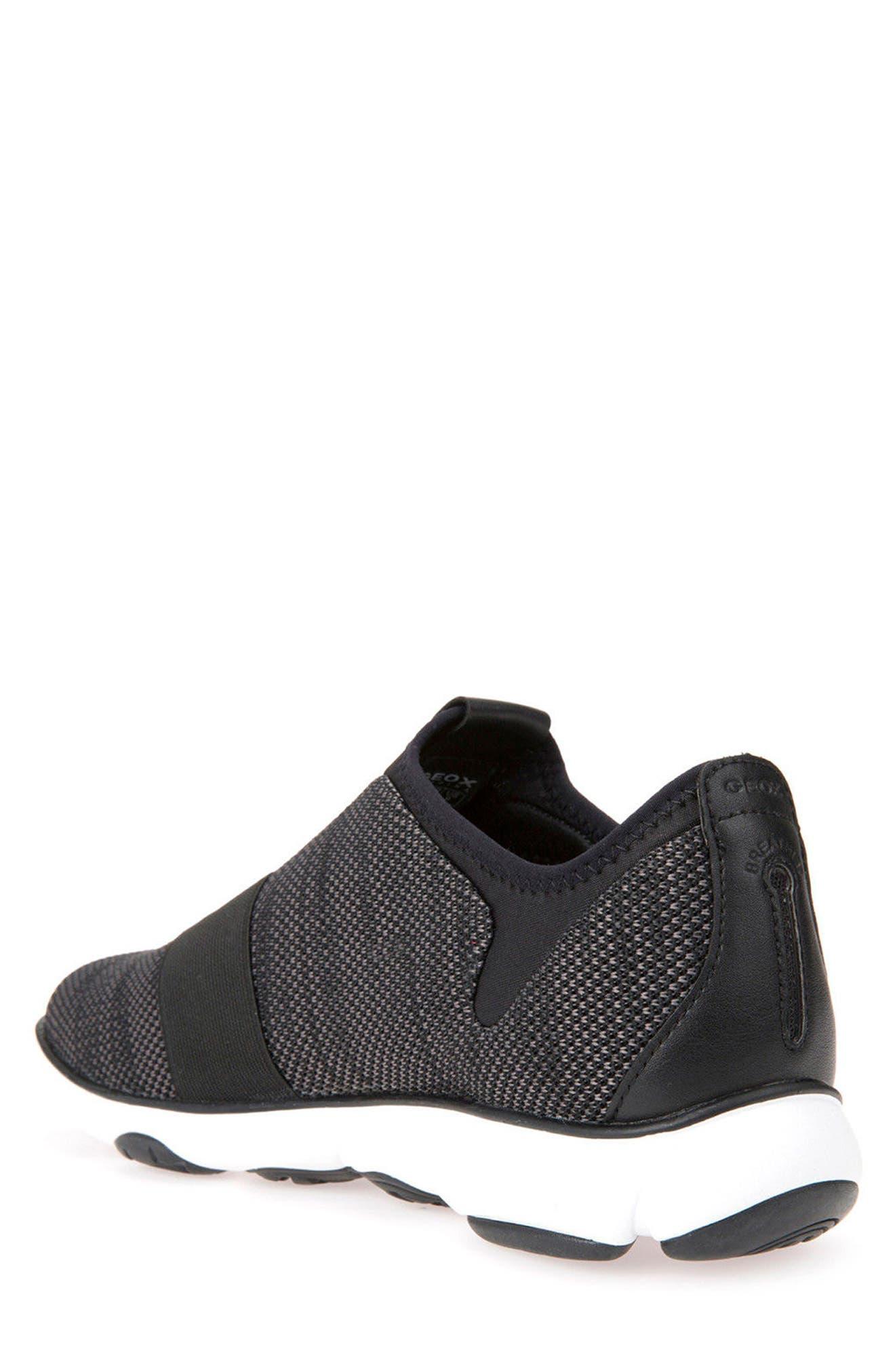 GEOX, Nebula 45 Banded Slip-On Sneaker, Alternate thumbnail 2, color, BLACK