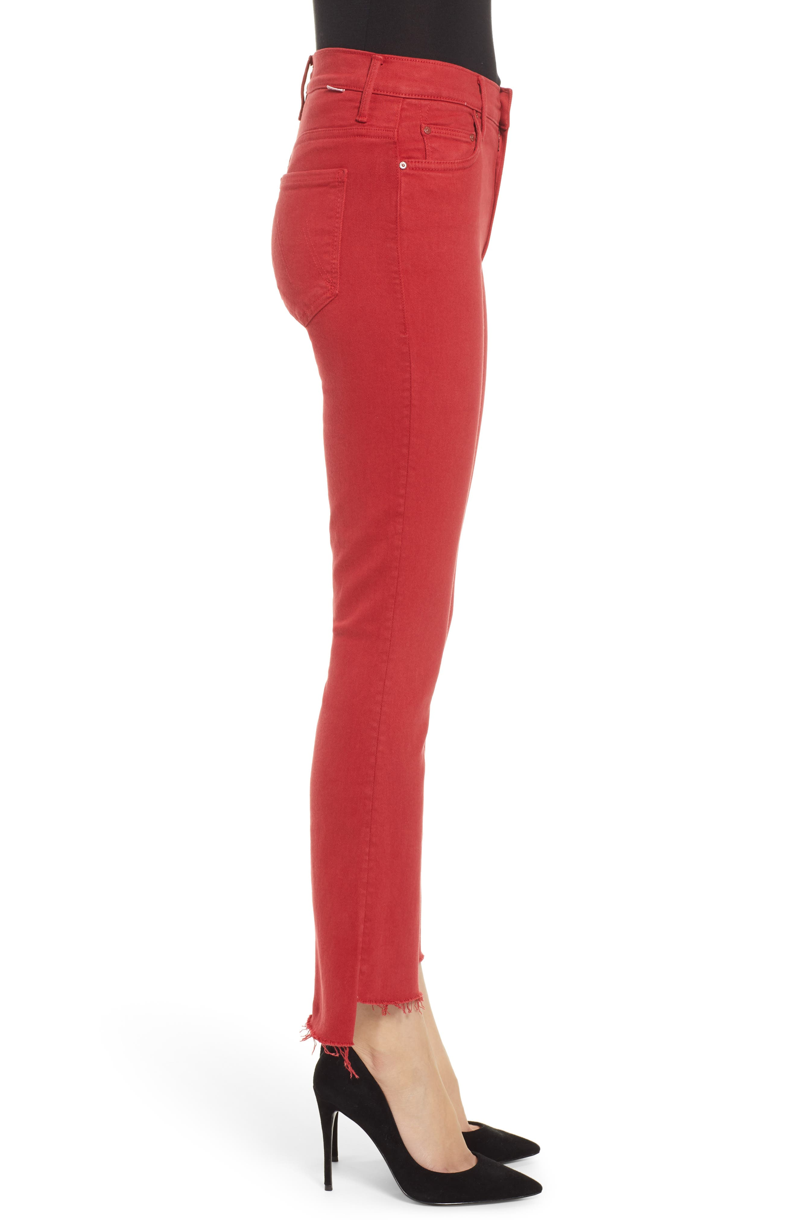 MOTHER, The Insider Step Hem Crop Jeans, Alternate thumbnail 4, color, HOT ROD RED