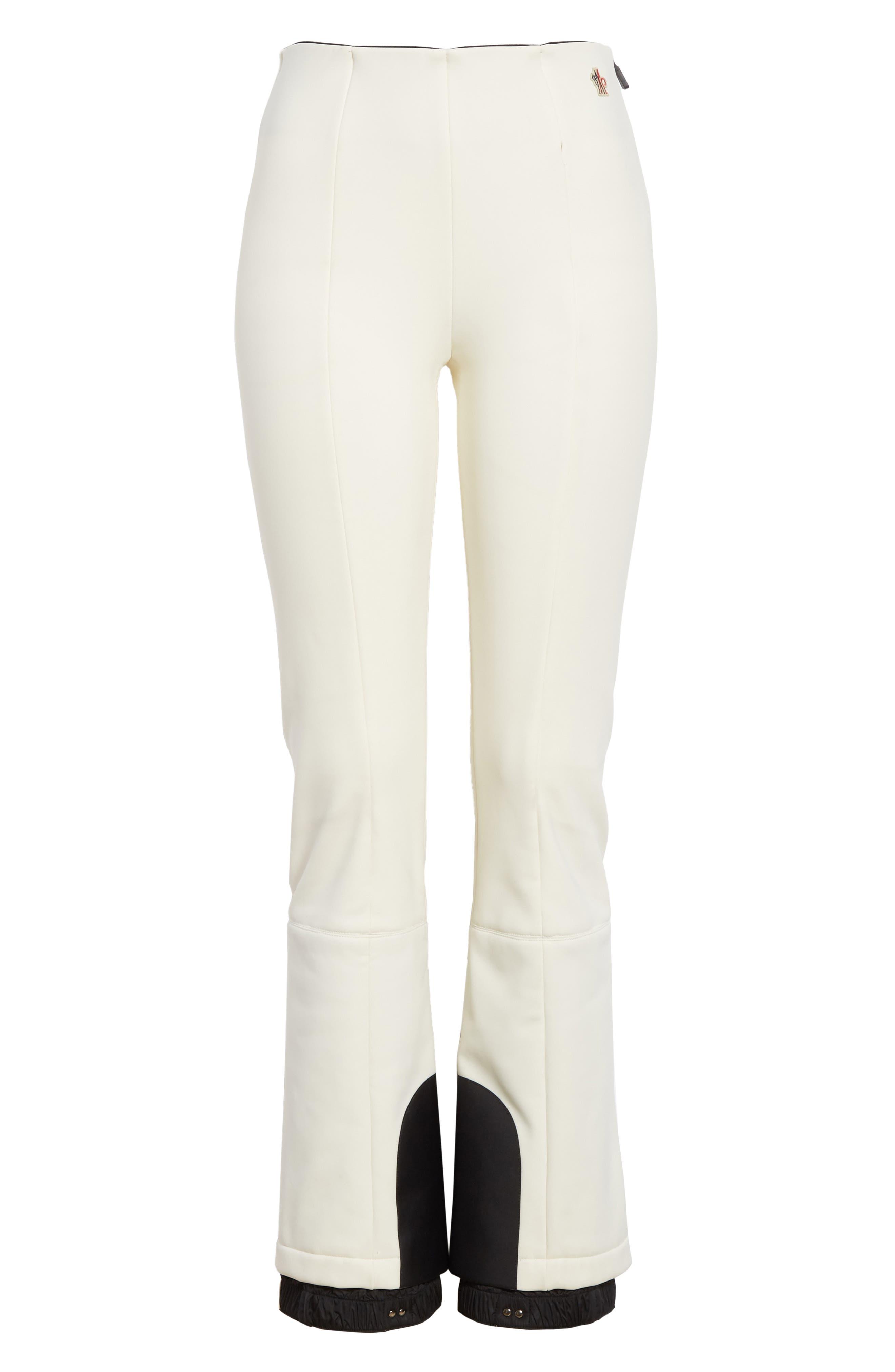 MONCLER, Skinny Stretch Ski Pants, Alternate thumbnail 6, color, WHITE