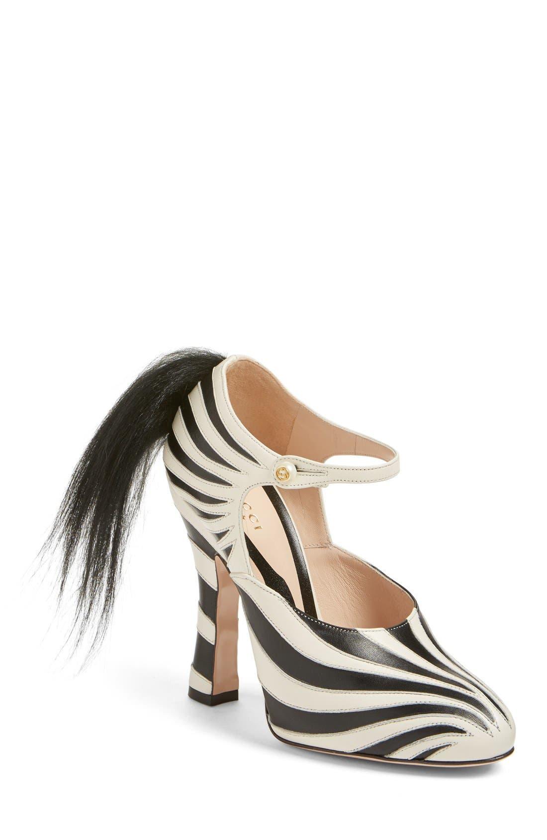 GUCCI, 'Lesley' Zebra Stripe Pump, Main thumbnail 1, color, 124