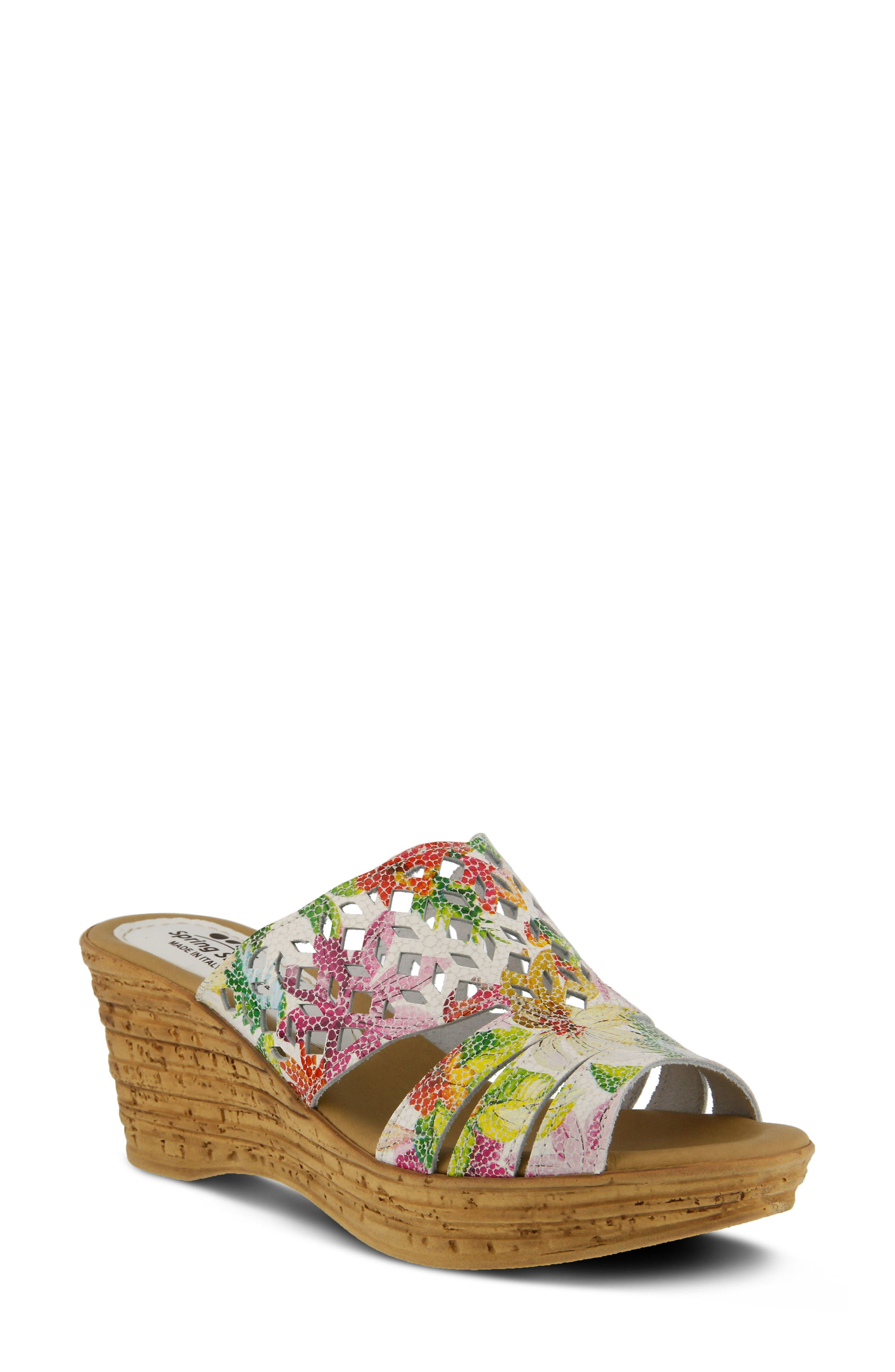 SPRING STEP, Viniko Platform Wedge Sandal, Main thumbnail 1, color, WHITE LEATHER