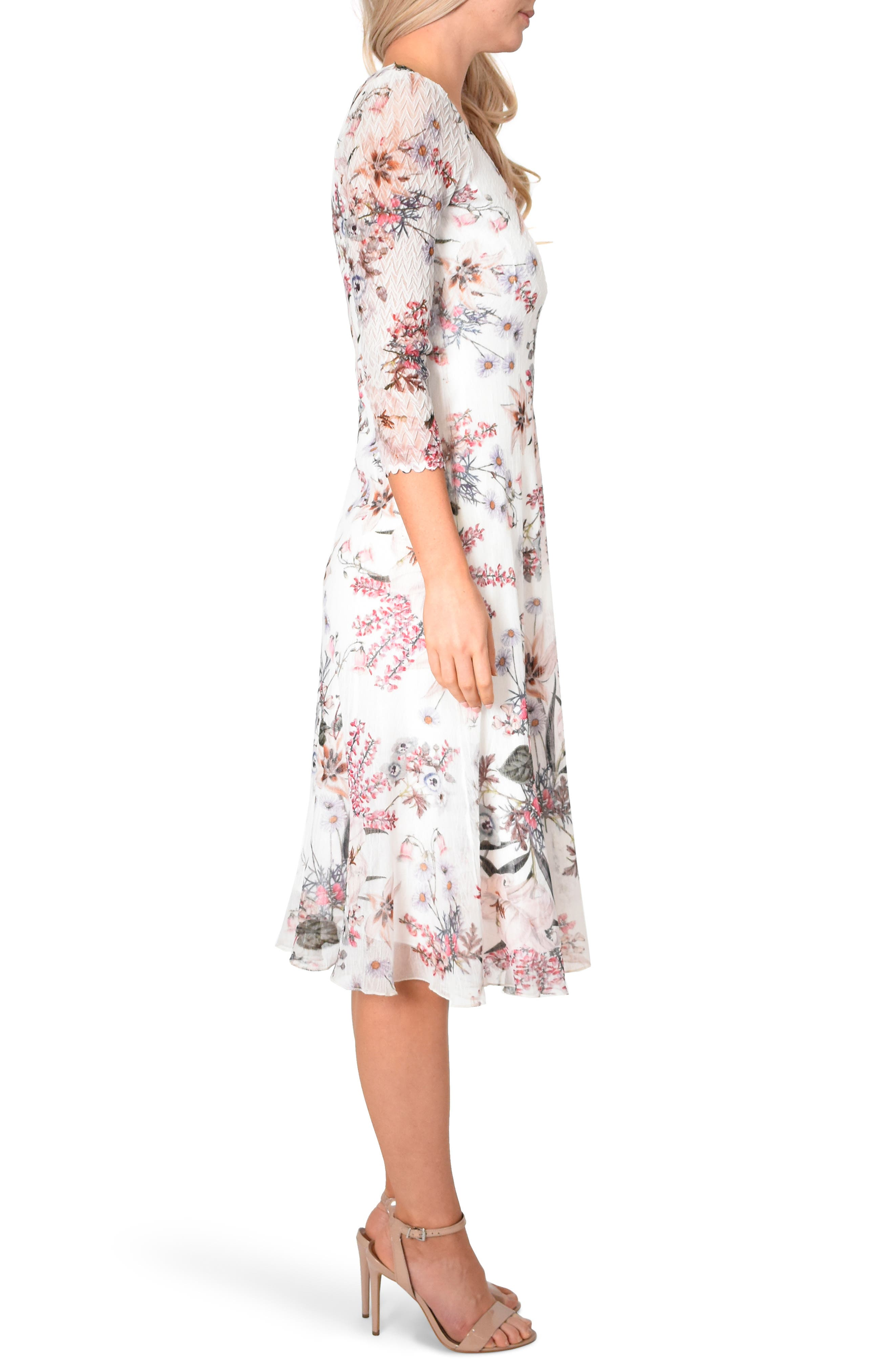 KOMAROV, Floral Chiffon MIdi Dress, Alternate thumbnail 3, color, SPRING ORCHARD