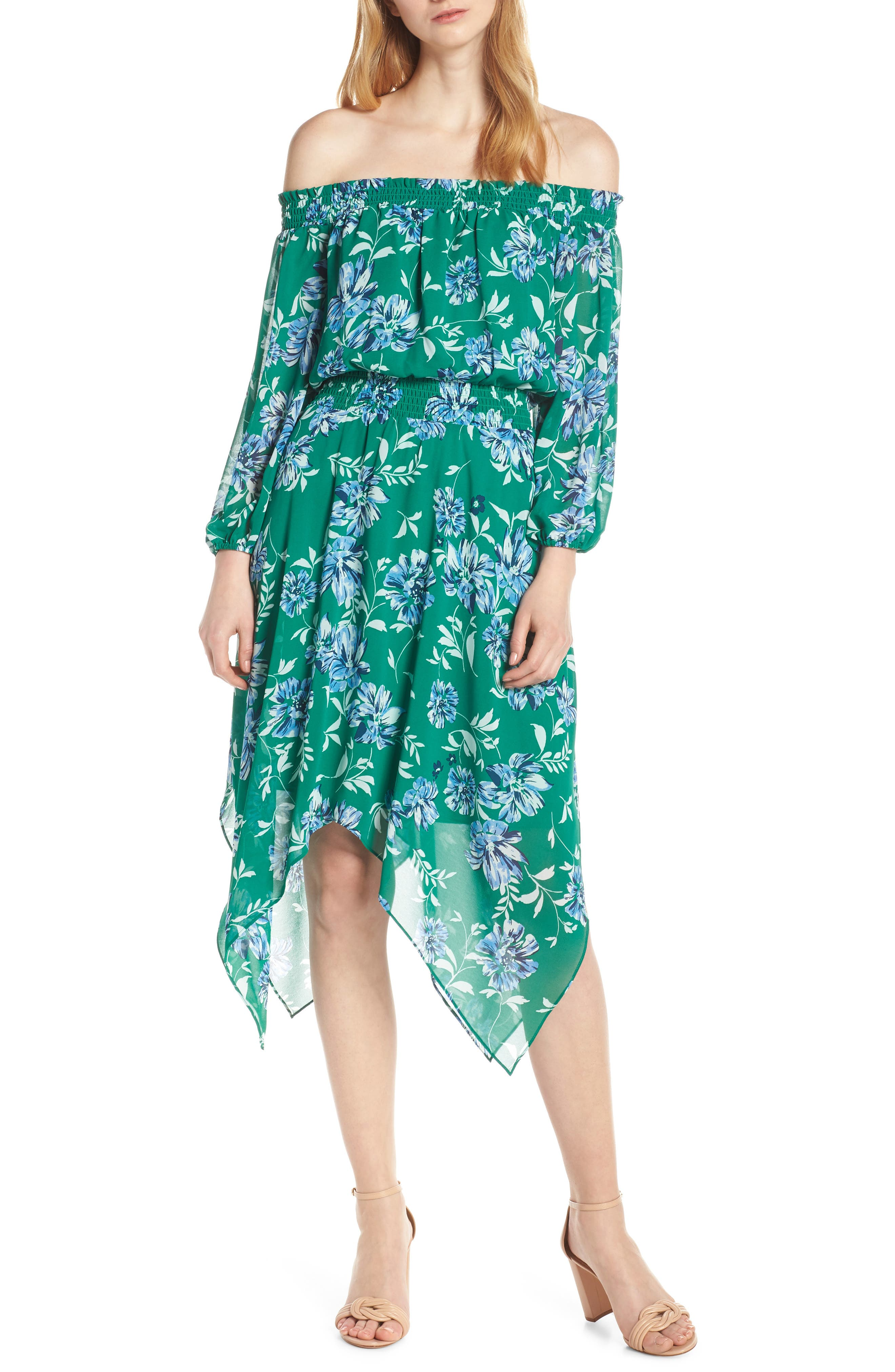 CHARLES HENRY, Smocked Handkerchief Hem Dress, Main thumbnail 1, color, KELLY GREEN FLORAL