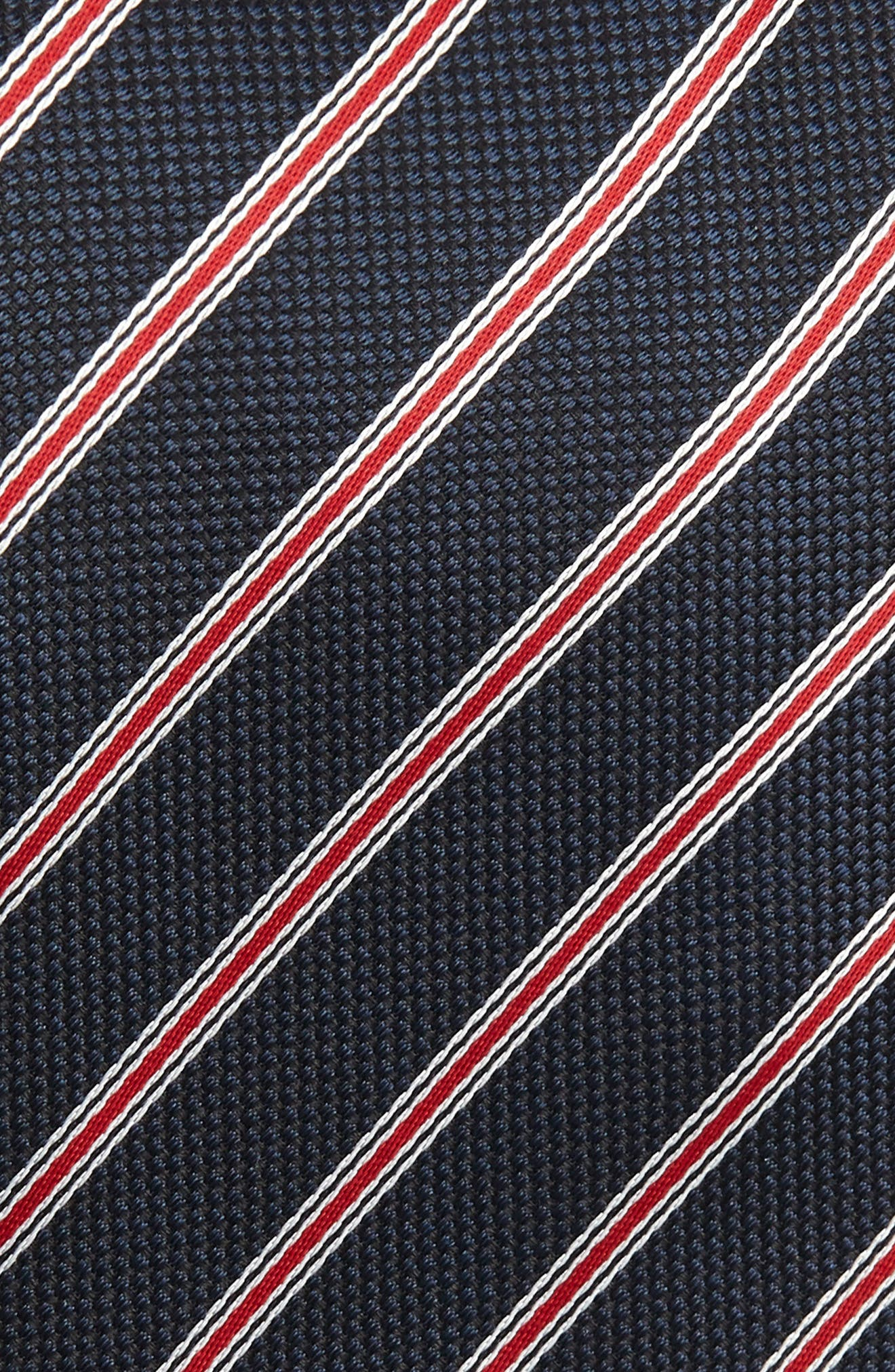 BOSS, Stripe Silk Tie, Alternate thumbnail 2, color, RED