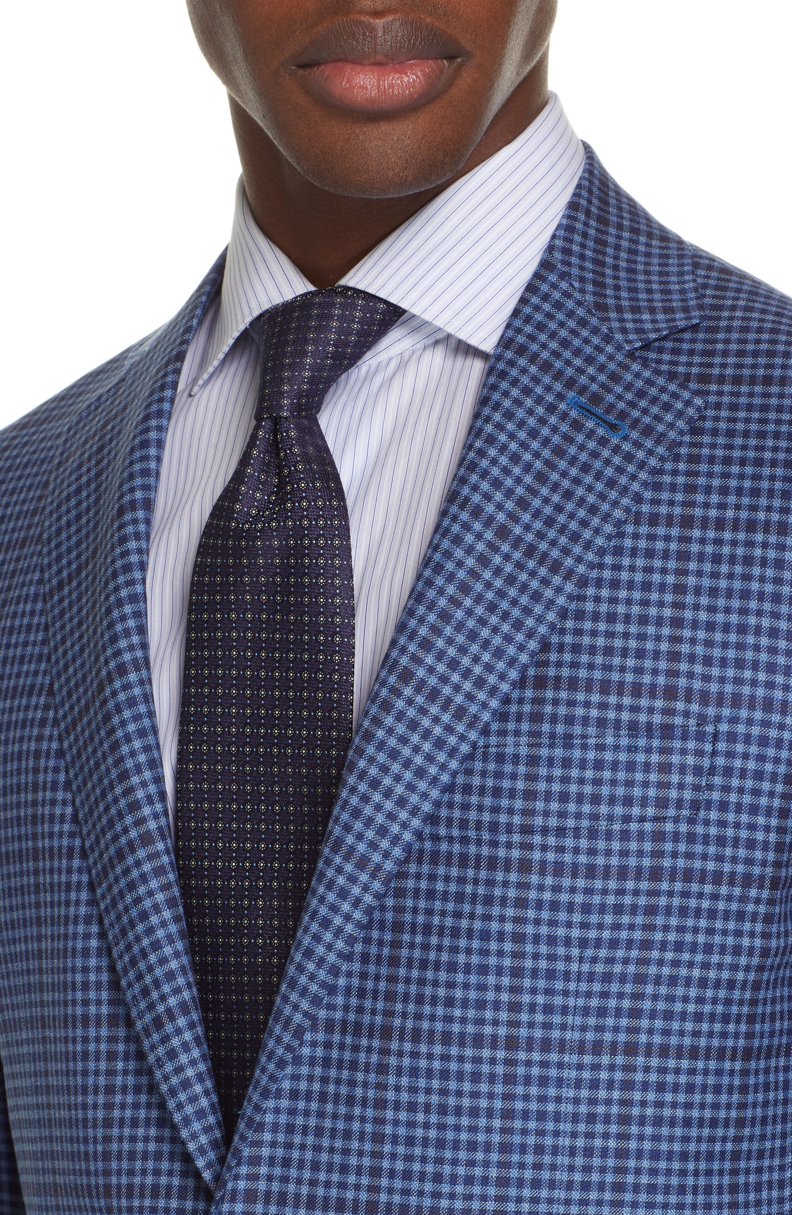 CANALI, Kei Classic Fit Check Wool Sport Coat, Alternate thumbnail 4, color, BLUE