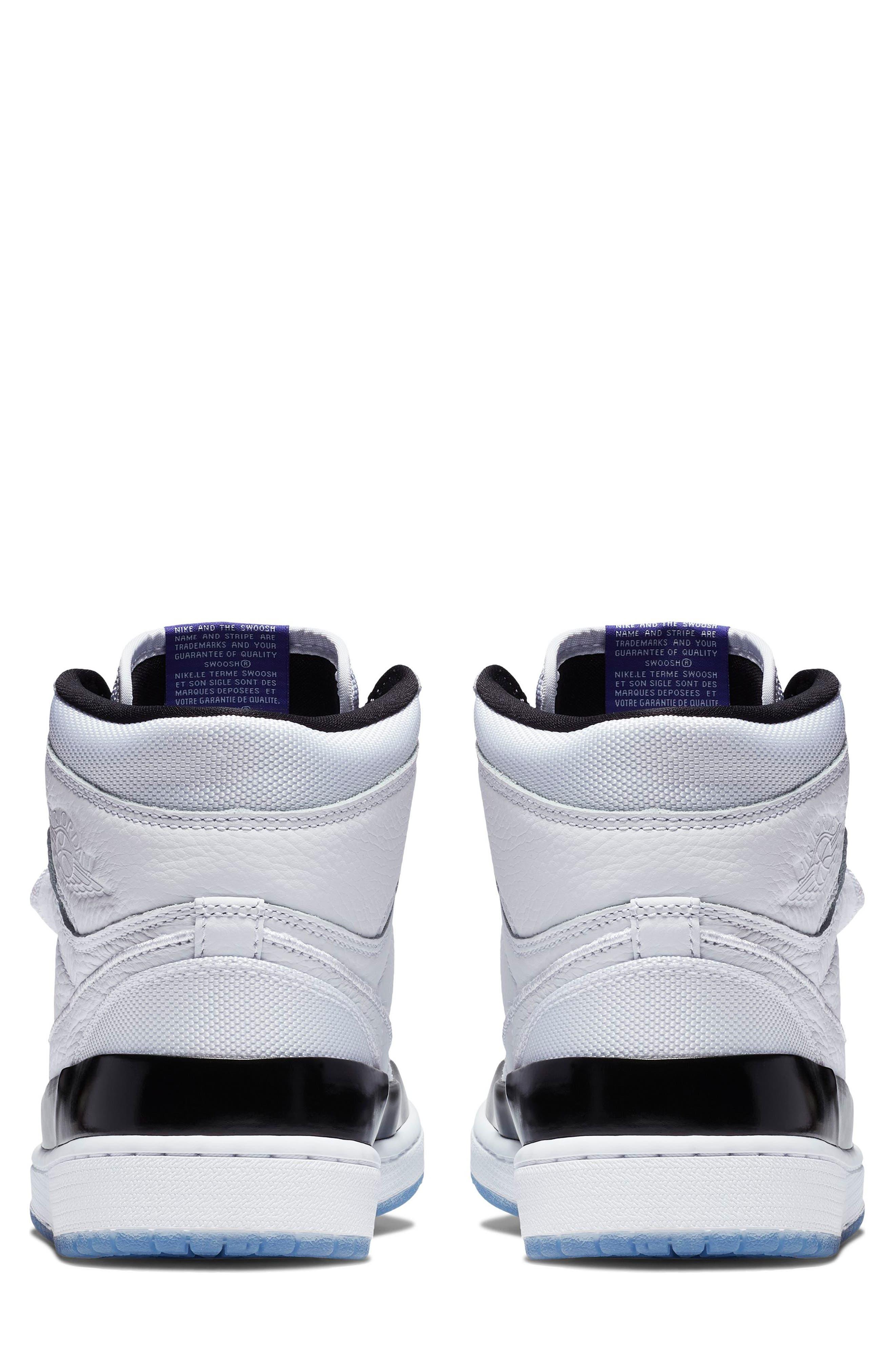 NIKE, Air Jordan 1 Retro High Double Strap Sneaker, Alternate thumbnail 5, color, WHITE/ DARK CONCORD/ BLACK