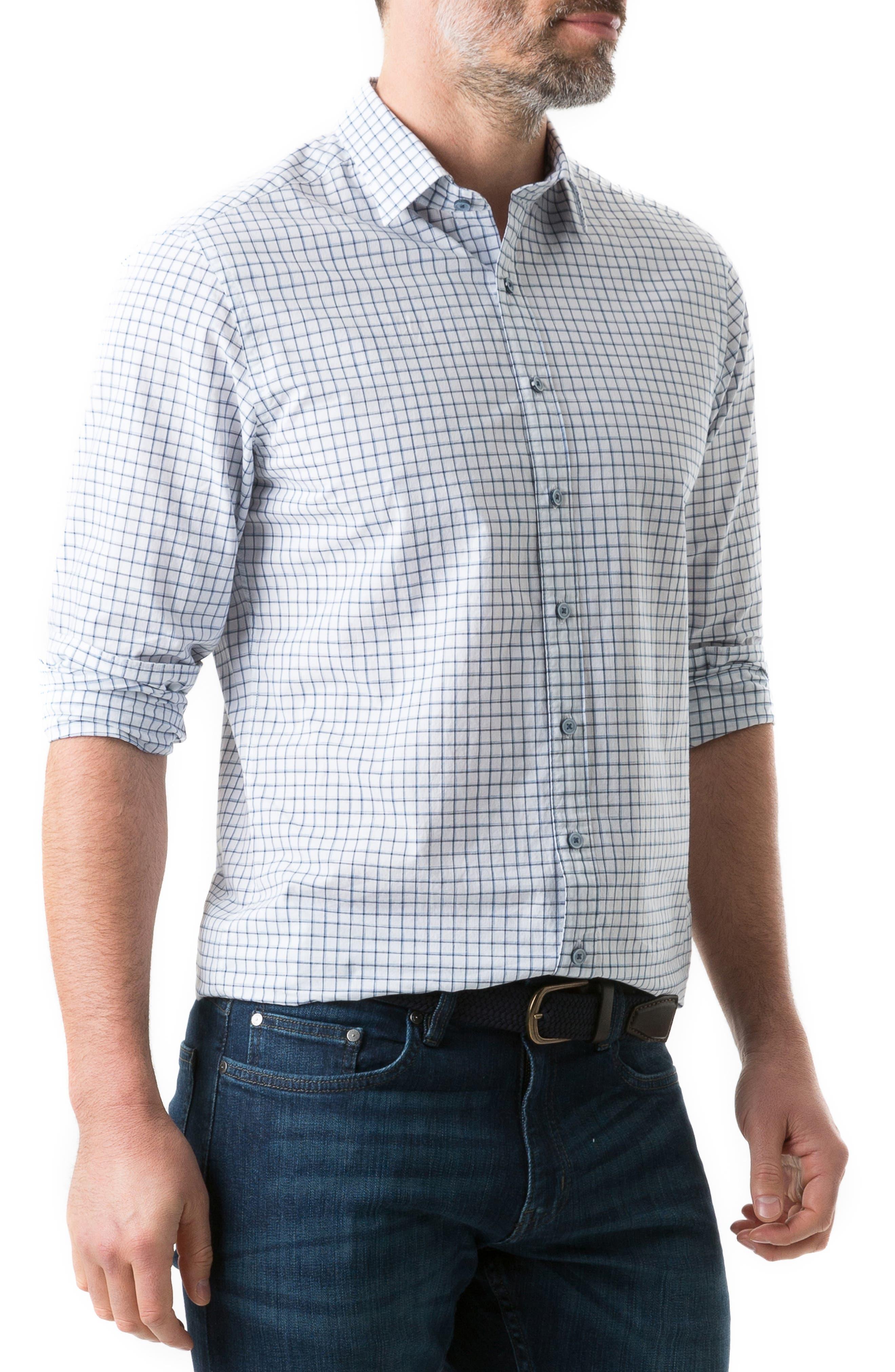 RODD & GUNN, Gowerville Regular Fit Check Sport Shirt, Alternate thumbnail 7, color, SNOW