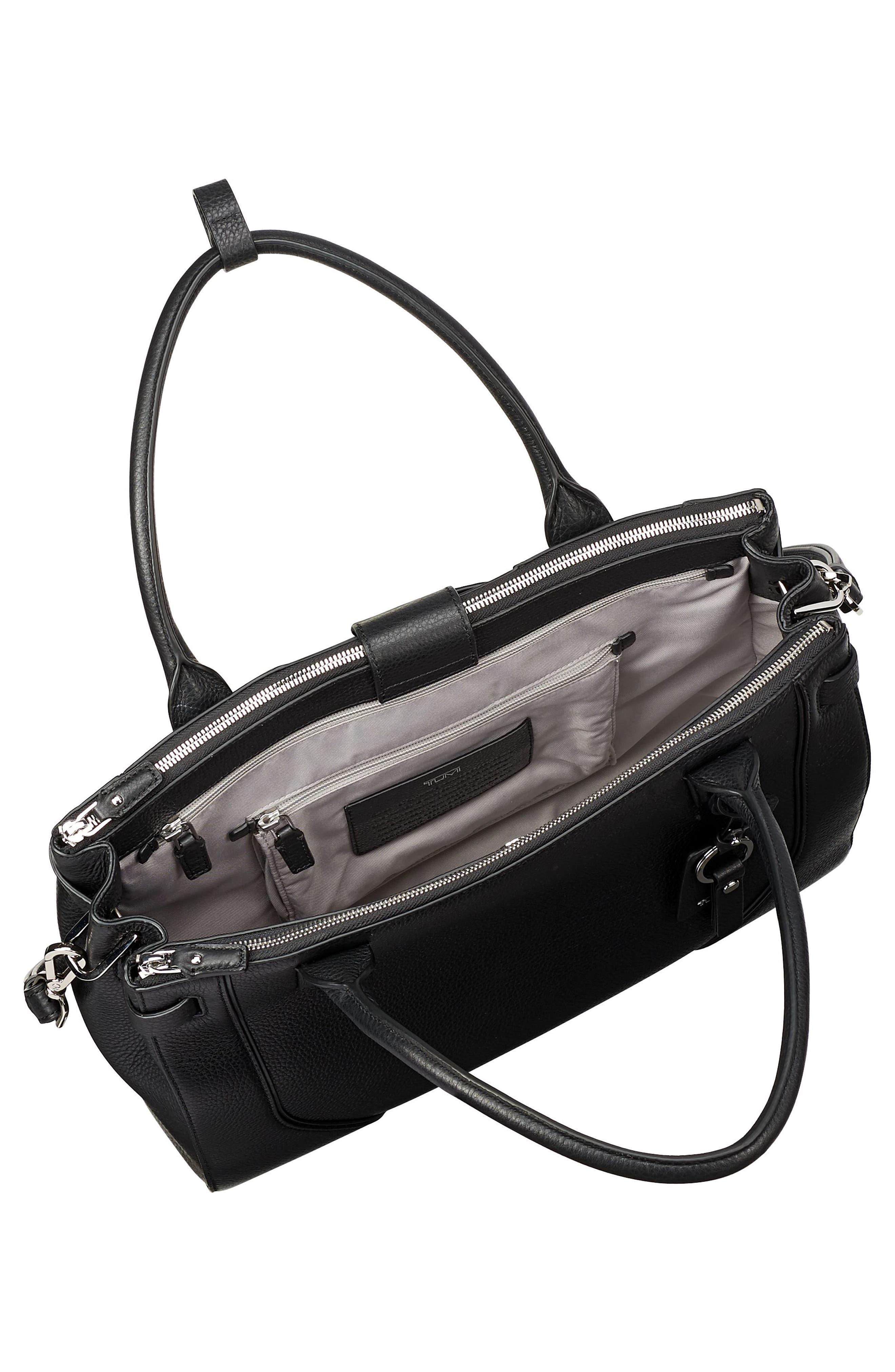 TUMI, Stanton Kiran Leather Laptop Briefcase, Alternate thumbnail 3, color, BLACK