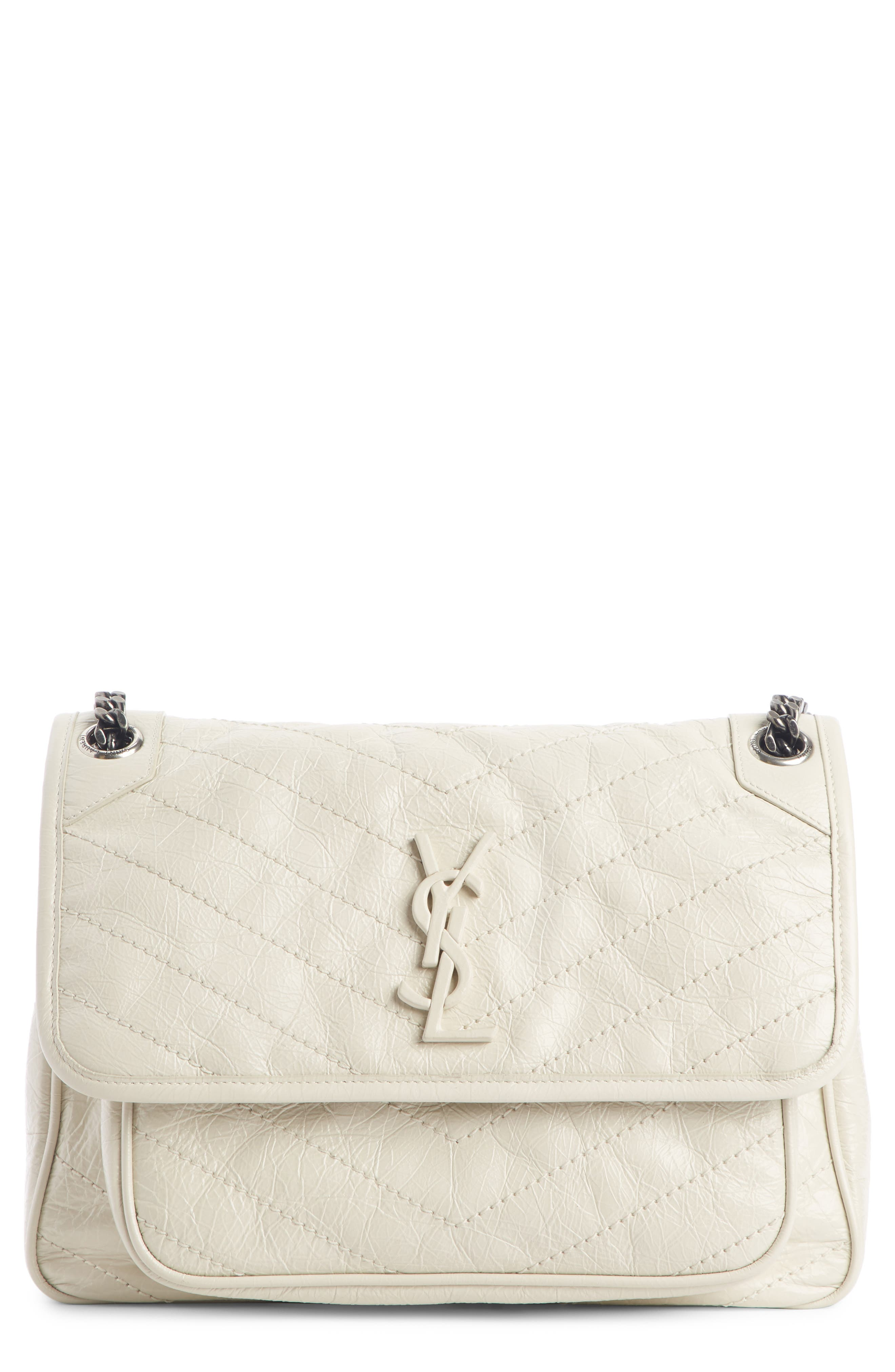 SAINT LAURENT, Medium Niki Leather Shoulder Bag, Main thumbnail 1, color, CREMA SOFT