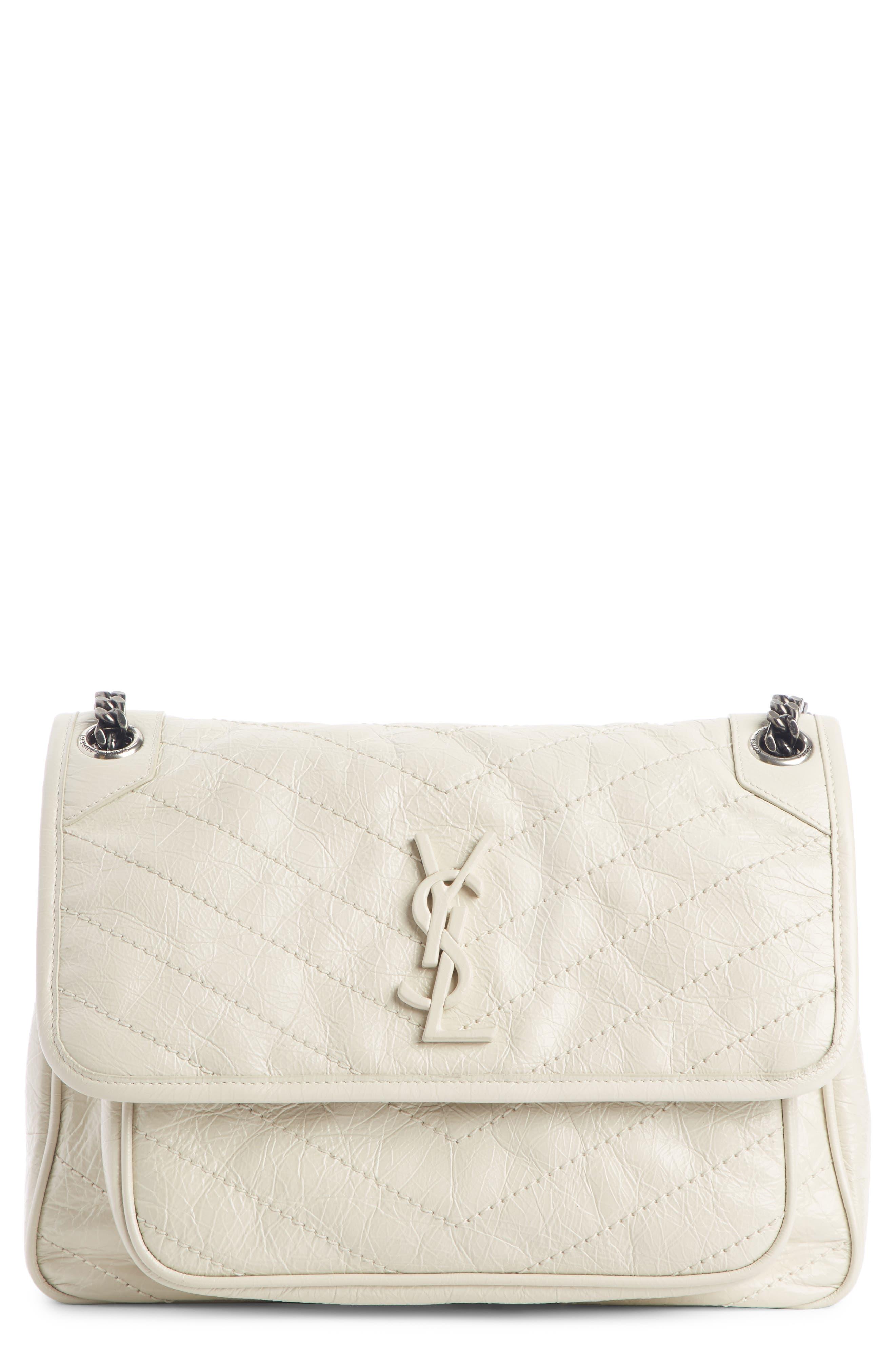 SAINT LAURENT Medium Niki Leather Shoulder Bag, Main, color, CREMA SOFT