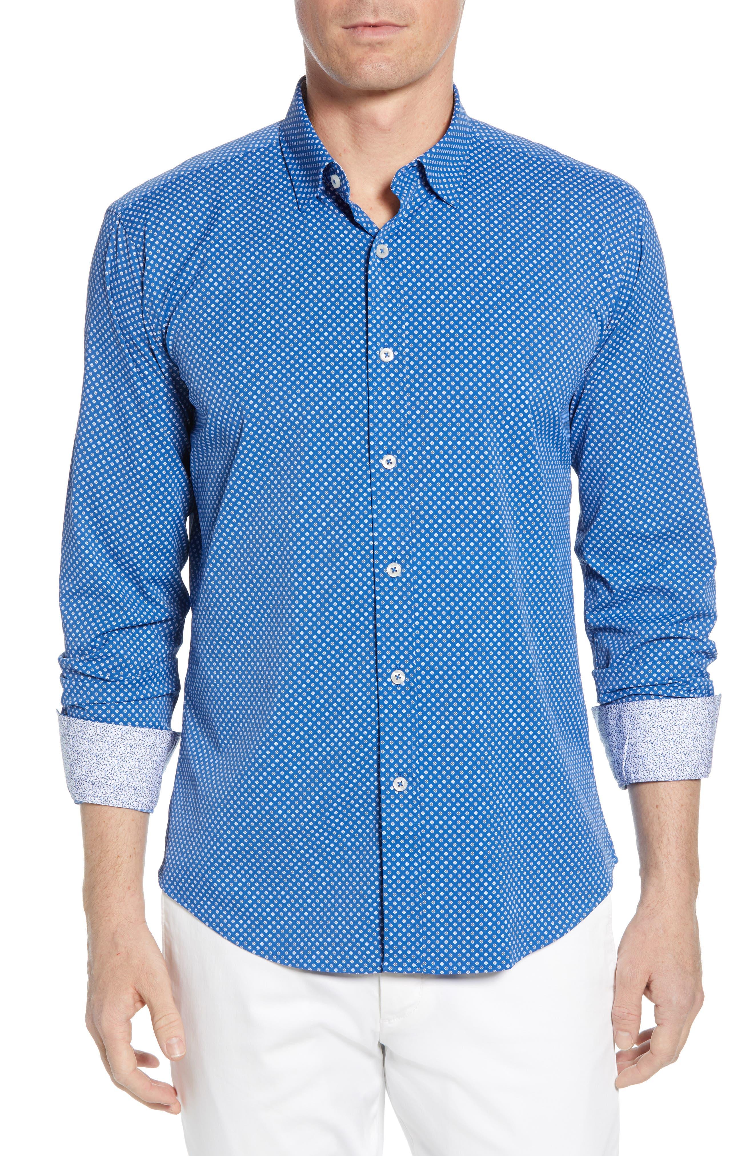 BUGATCHI Shaped Fit Print Performance Sport Shirt, Main, color, NAVY