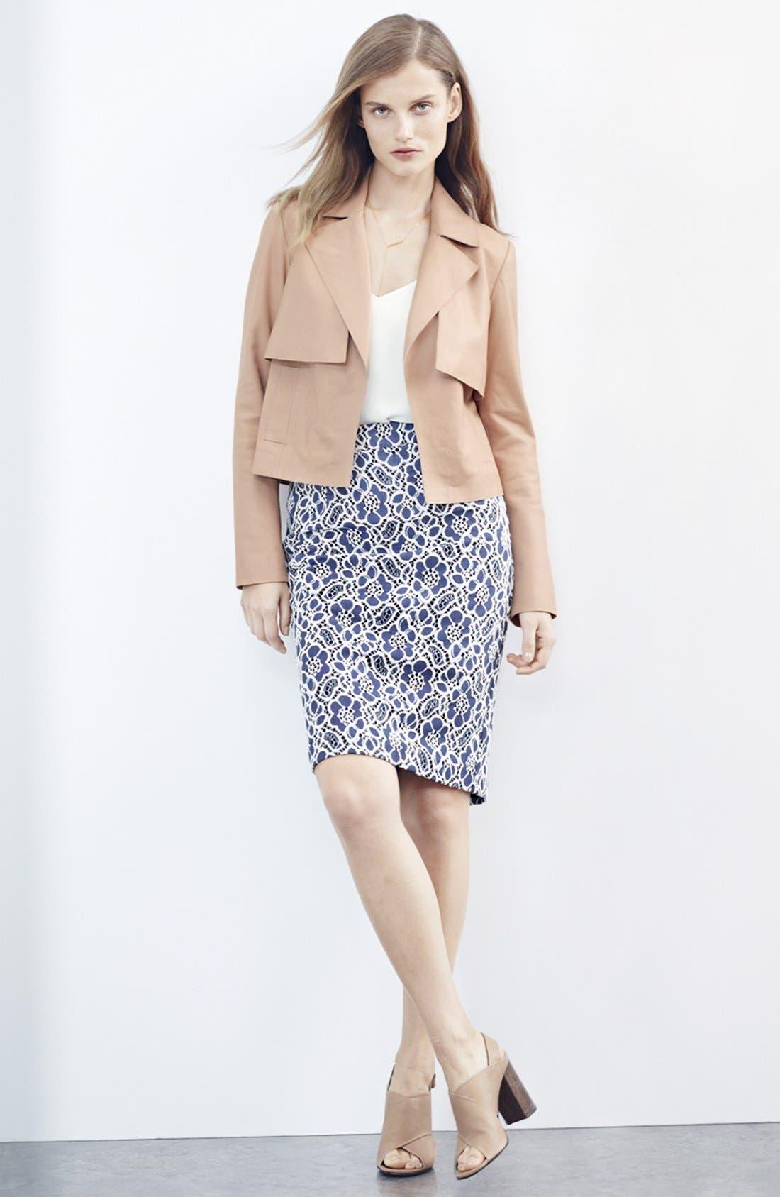 HALOGEN<SUP>®</SUP>, Crop Leather Jacket, Main thumbnail 1, color, 001