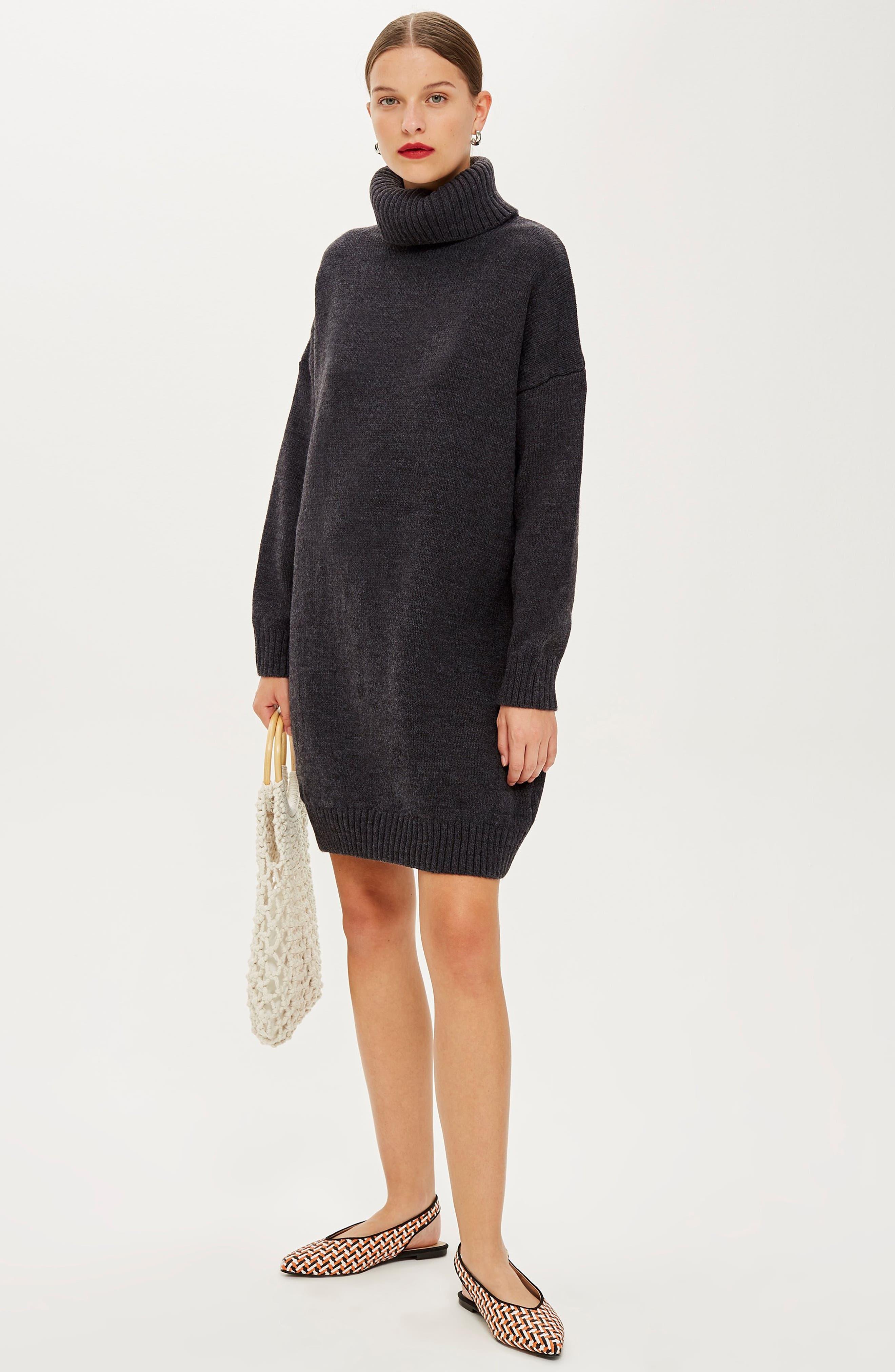TOPSHOP, Turtleneck Sweater Dress, Alternate thumbnail 6, color, 021