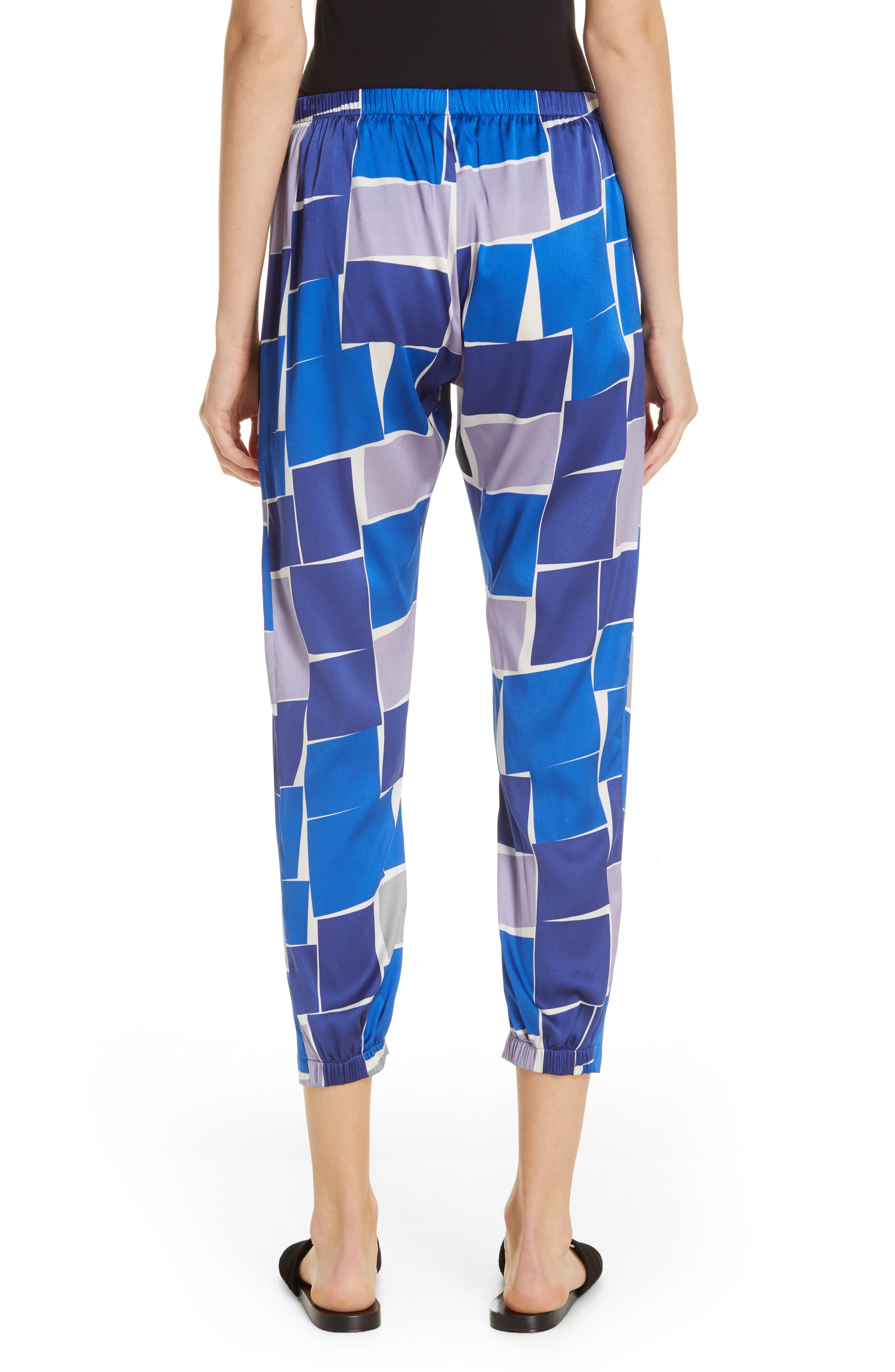 ZERO + MARIA CORNEJO, Gabi Print Stretch Silk Trousers, Alternate thumbnail 2, color, DUSK MULTI