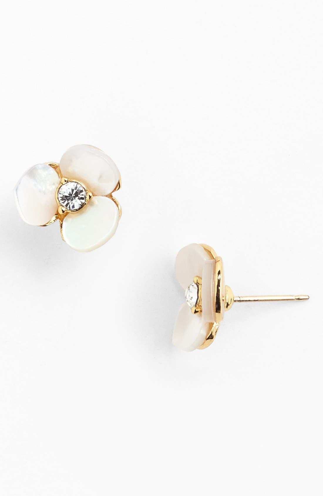 KATE SPADE NEW YORK, 'disco pansy' stud earrings, Main thumbnail 1, color, CREAM/ CLEAR/ GOLD
