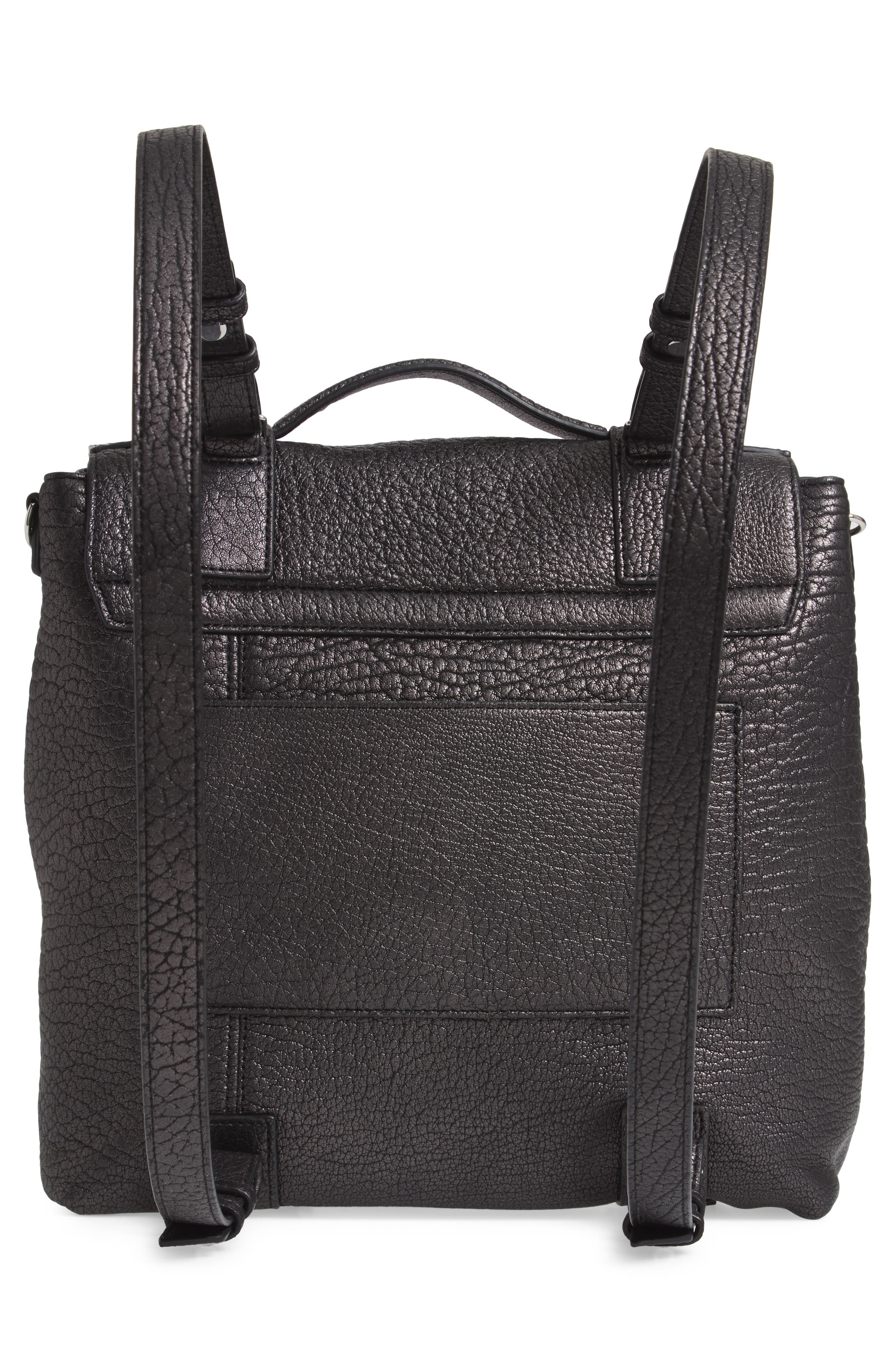 ALLSAINTS, Vincent Leather Backpack, Alternate thumbnail 5, color, 022