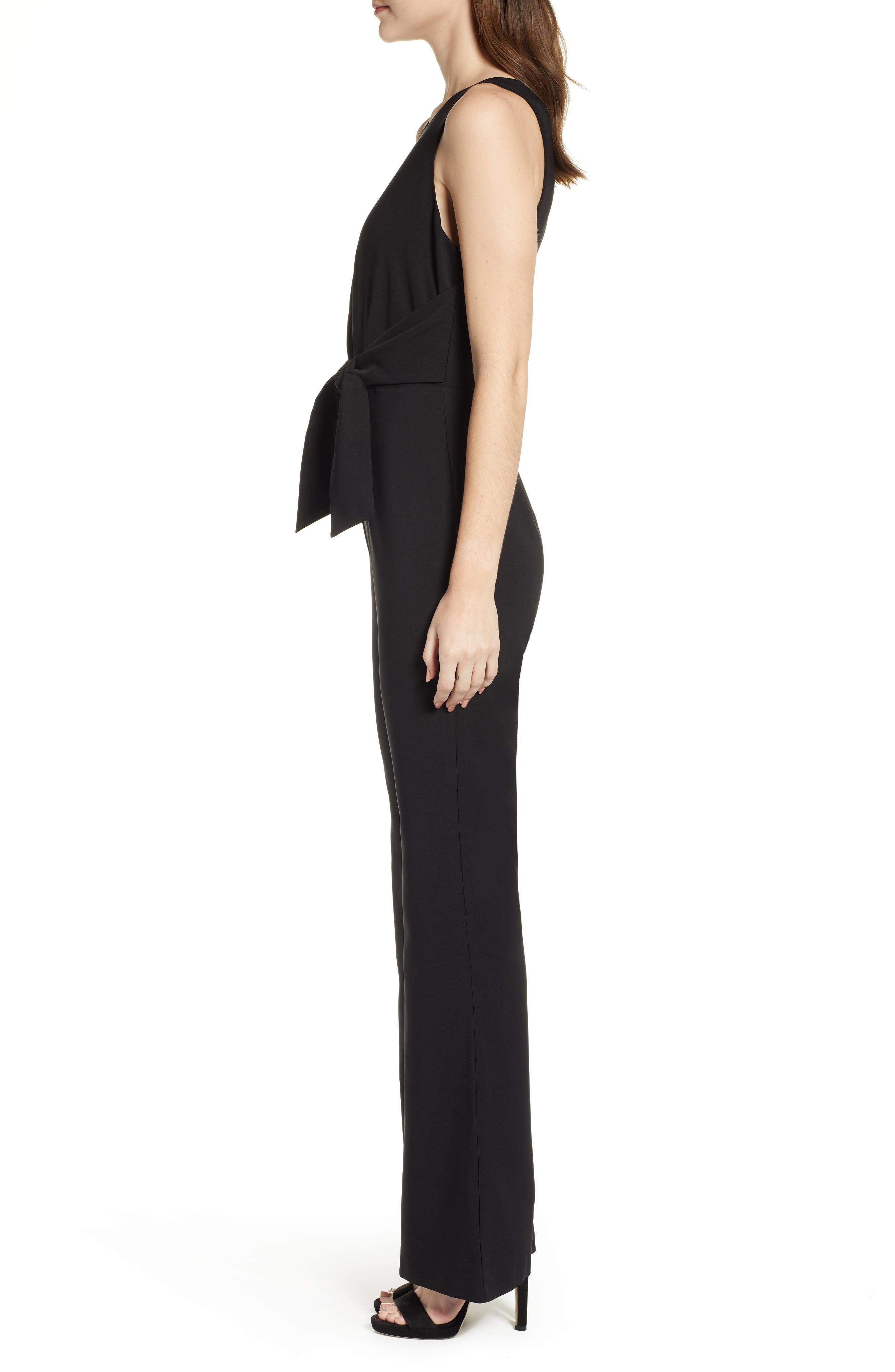 SOCIALITE, Tie Front Jumpsuit, Alternate thumbnail 4, color, BLACK